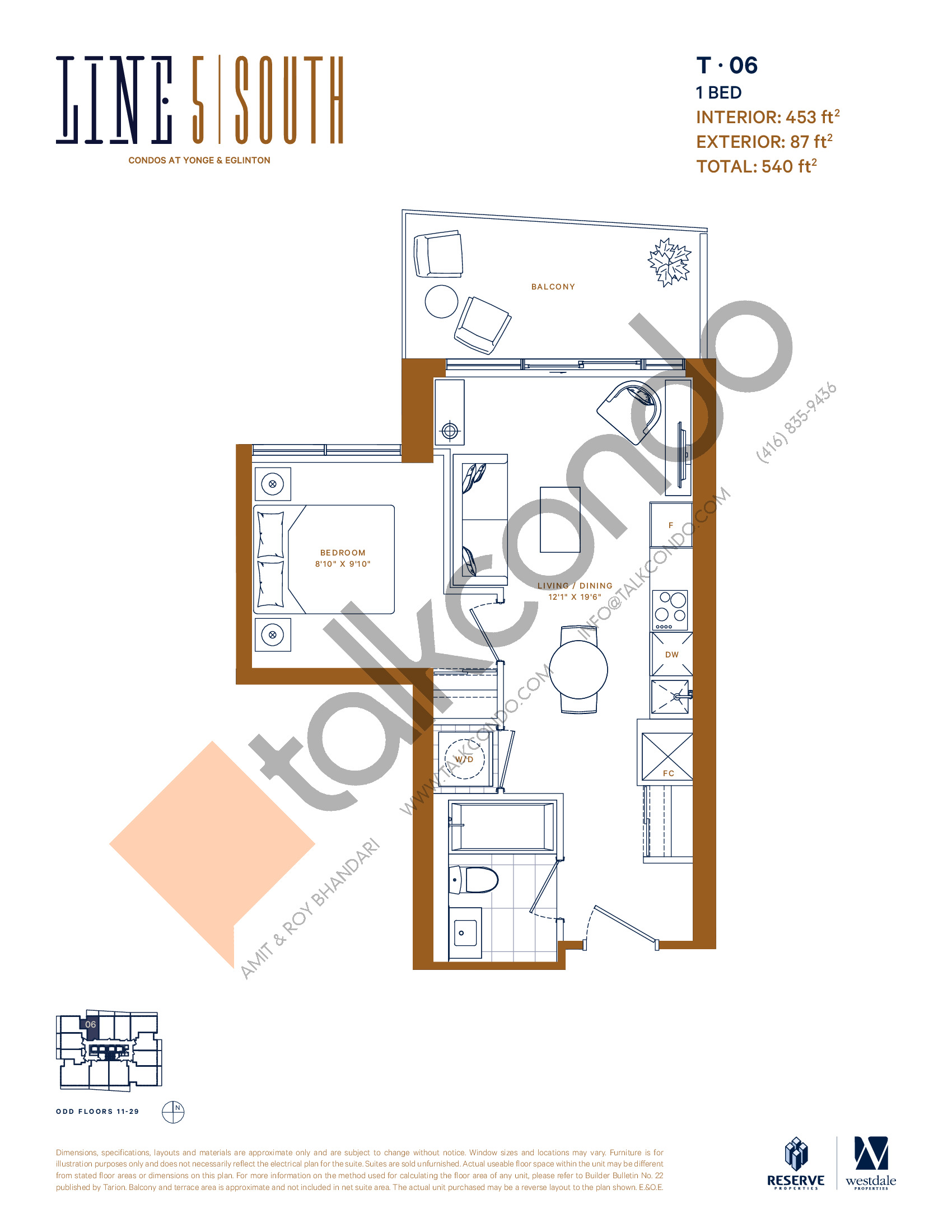 T-06 (New Release) Floor Plan at Line 5 South Tower Condos - 453 sq.ft