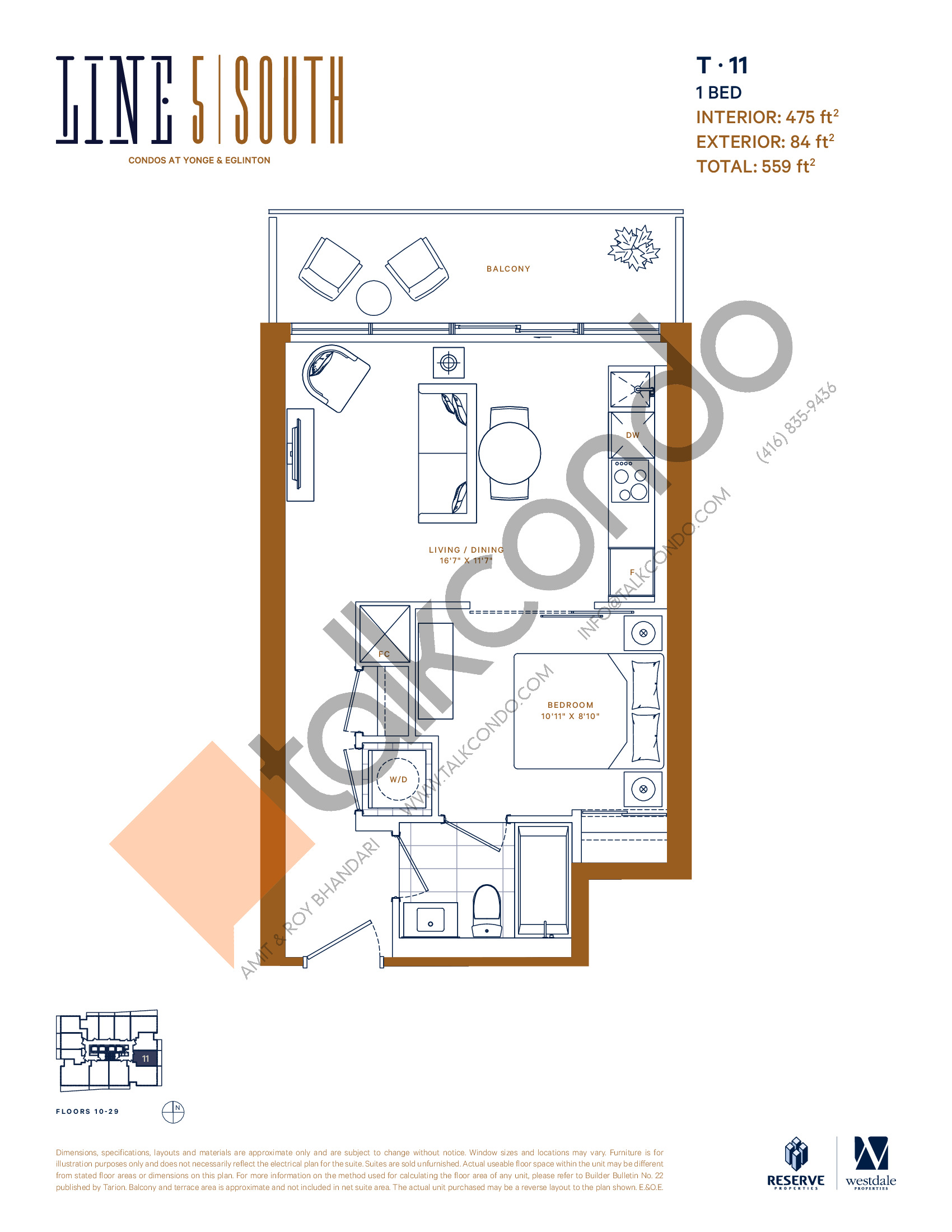 T-11 Floor Plan at Line 5 South Tower Condos - 475 sq.ft