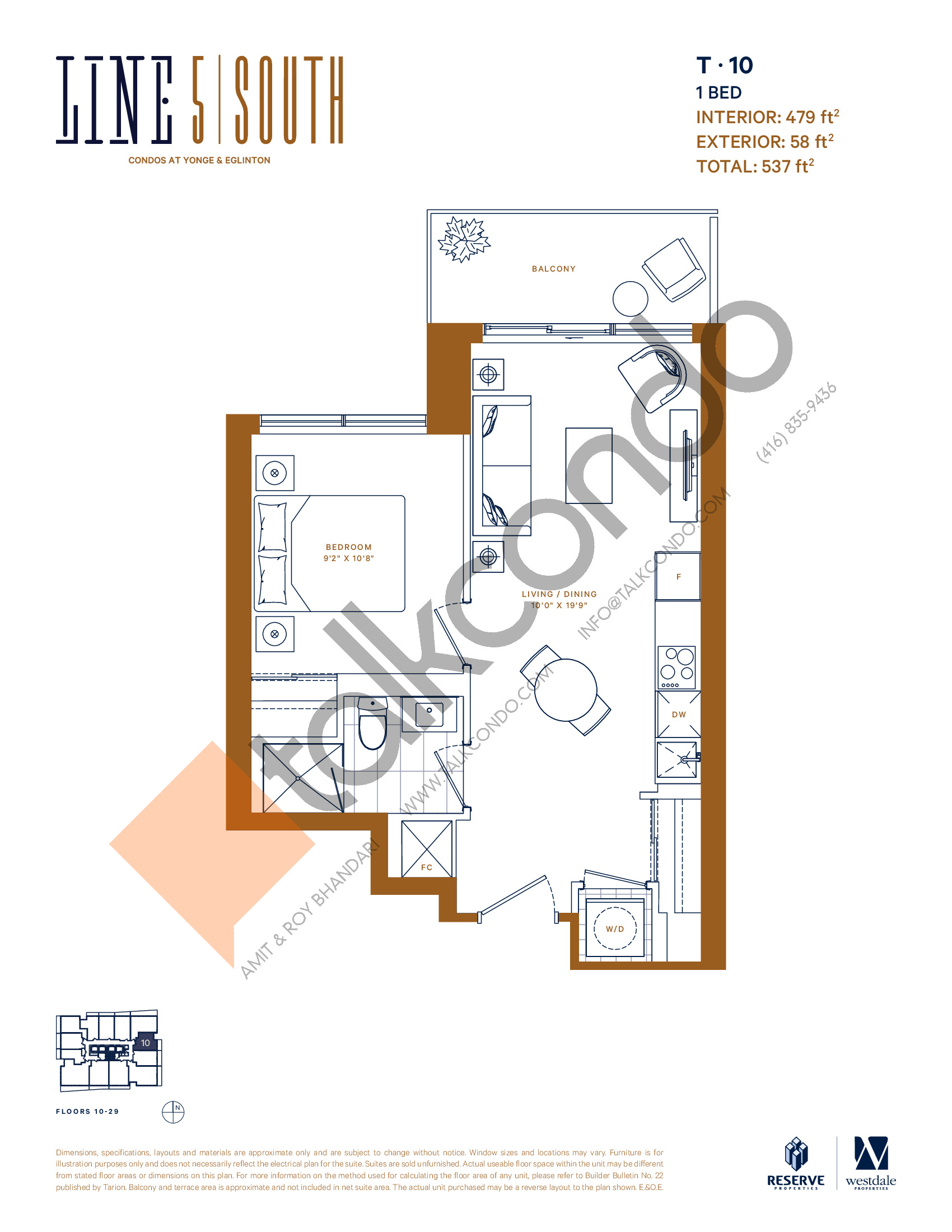 T-10 Floor Plan at Line 5 South Tower Condos - 479 sq.ft