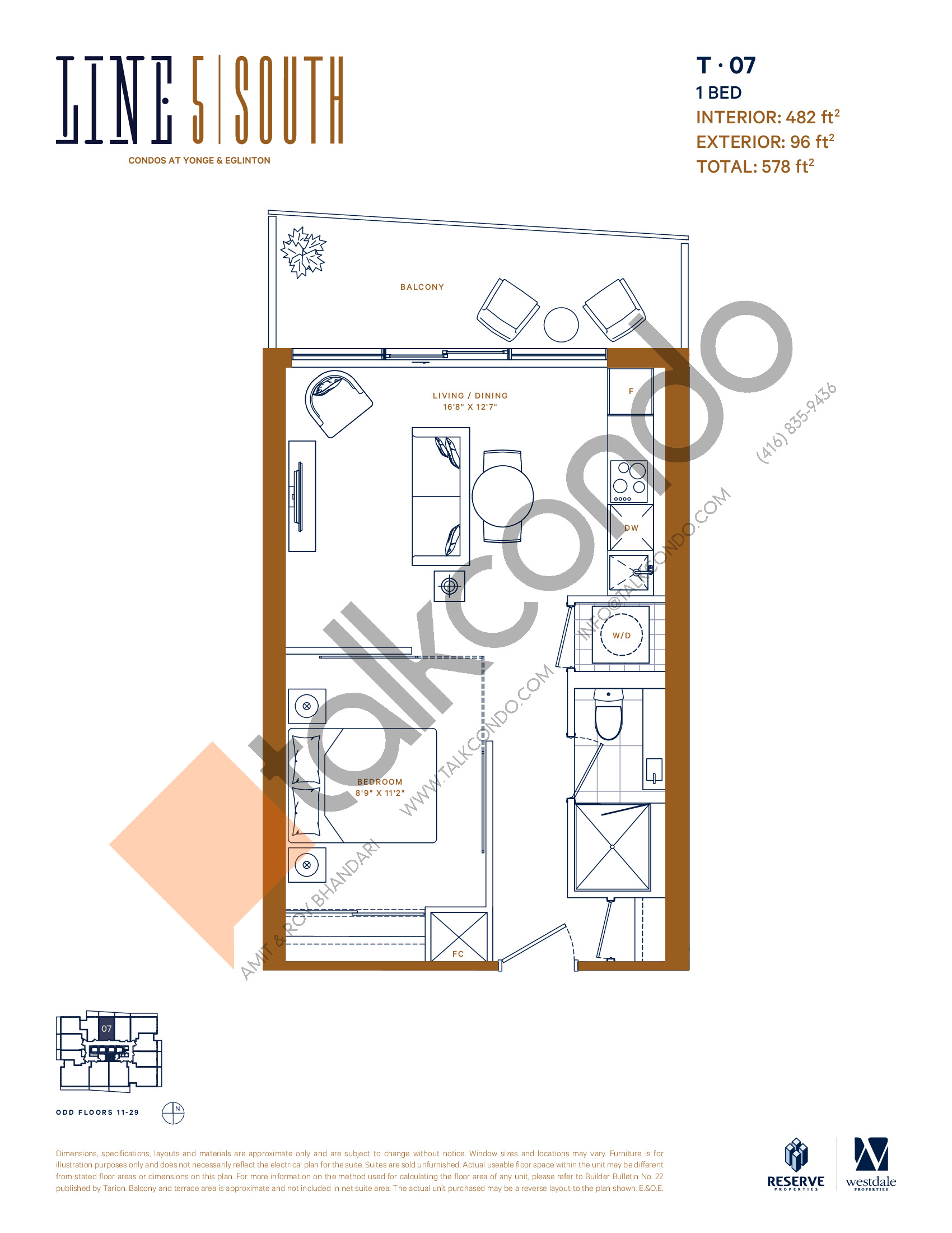 T-07 Floor Plan at Line 5 South Tower Condos - 482 sq.ft