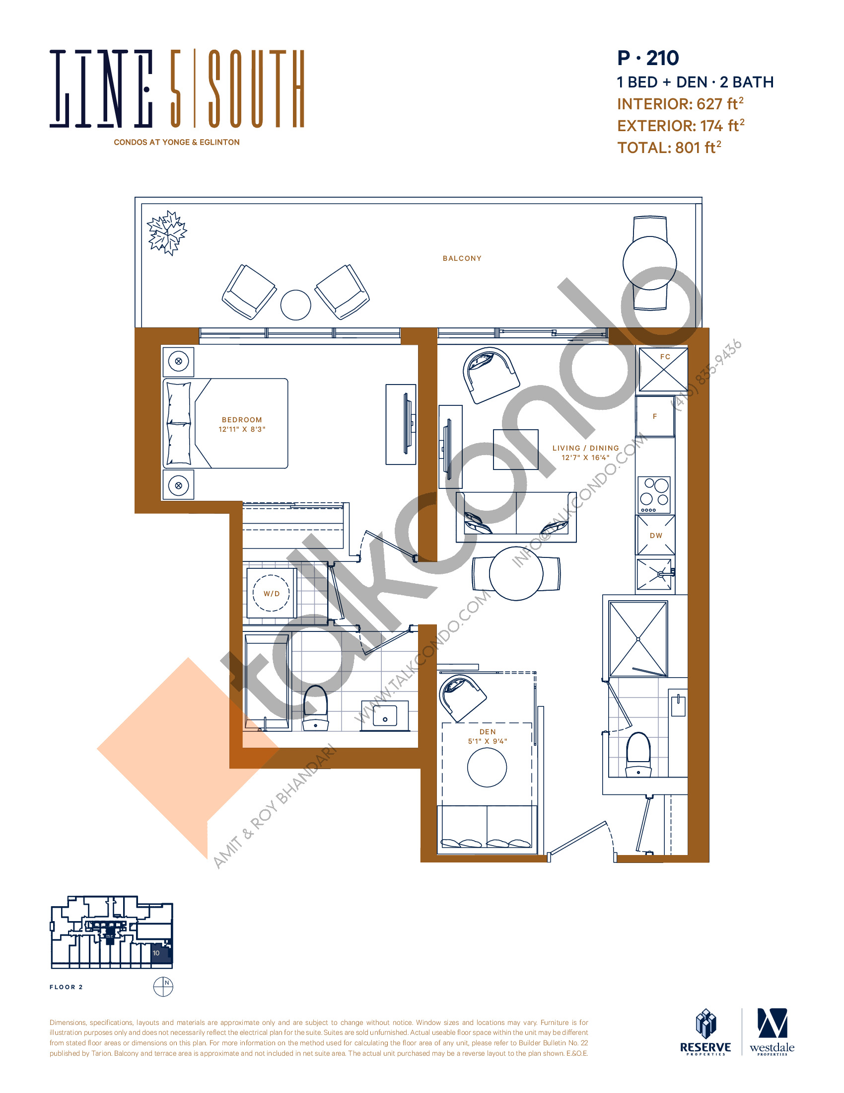 P-210 Floor Plan at Line 5 South Tower Condos - 627 sq.ft