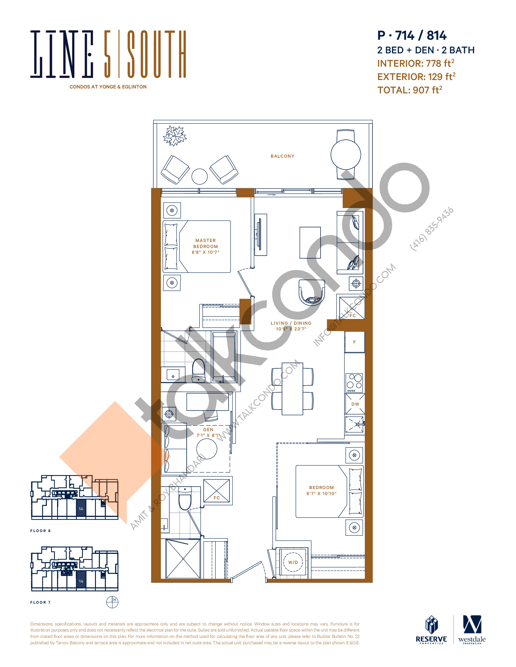 P-714 / 814 Floor Plan at Line 5 South Tower Condos - 778 sq.ft