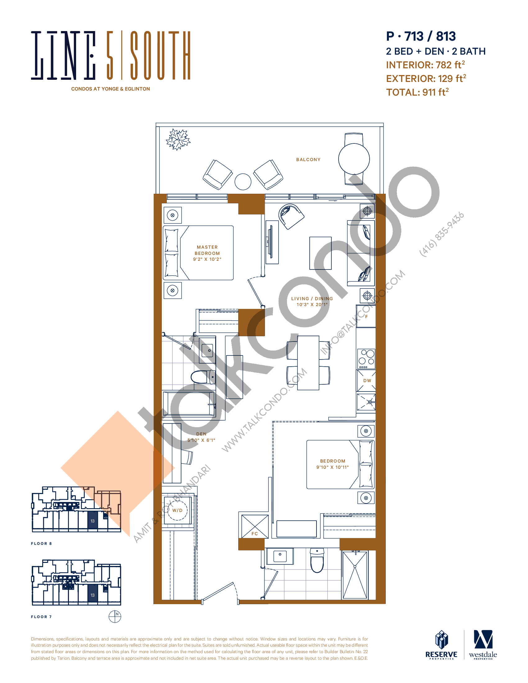 P-713 / 813 Floor Plan at Line 5 South Tower Condos - 782 sq.ft