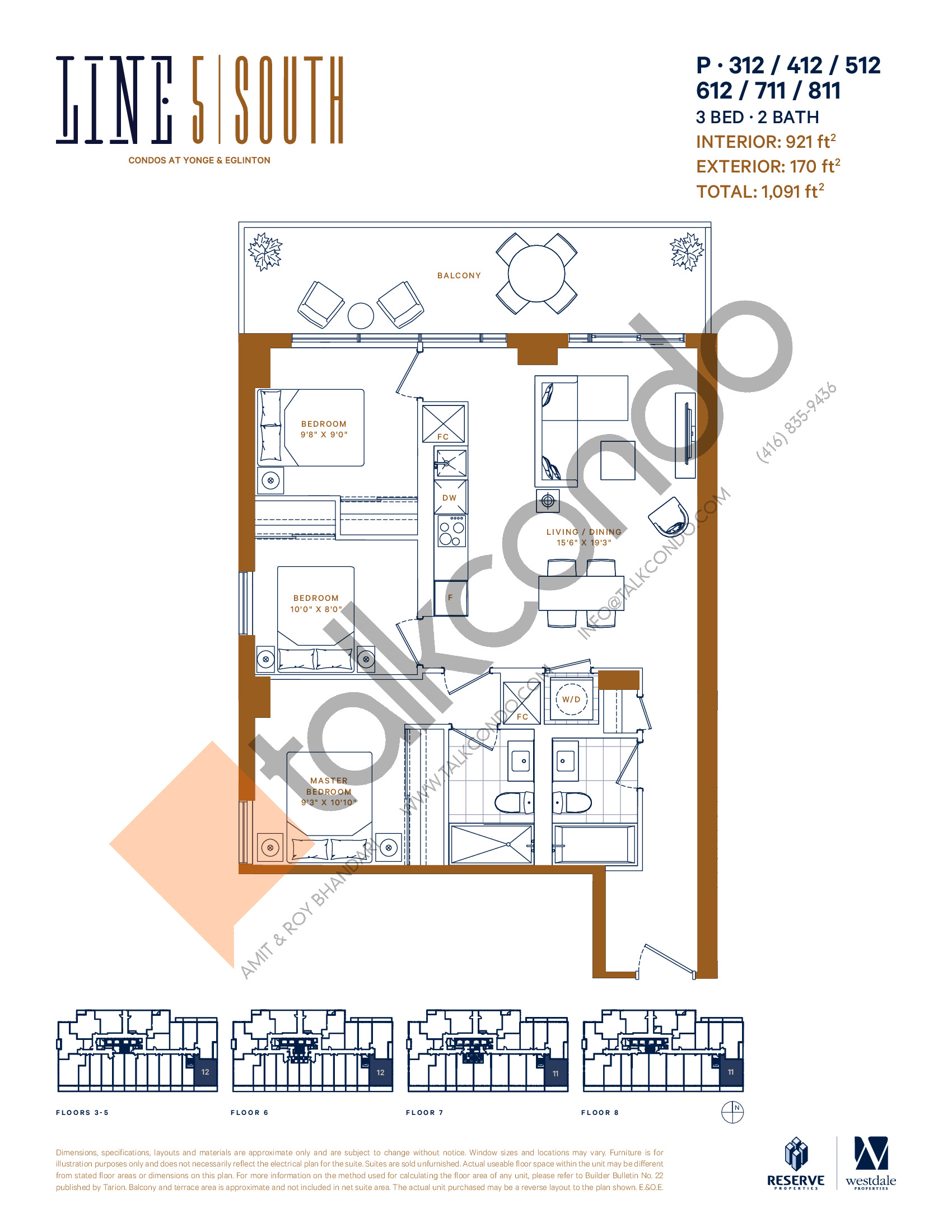 P-312 / 412 / 512 / 612 / 711 / 811 Floor Plan at Line 5 South Tower Condos - 921 sq.ft