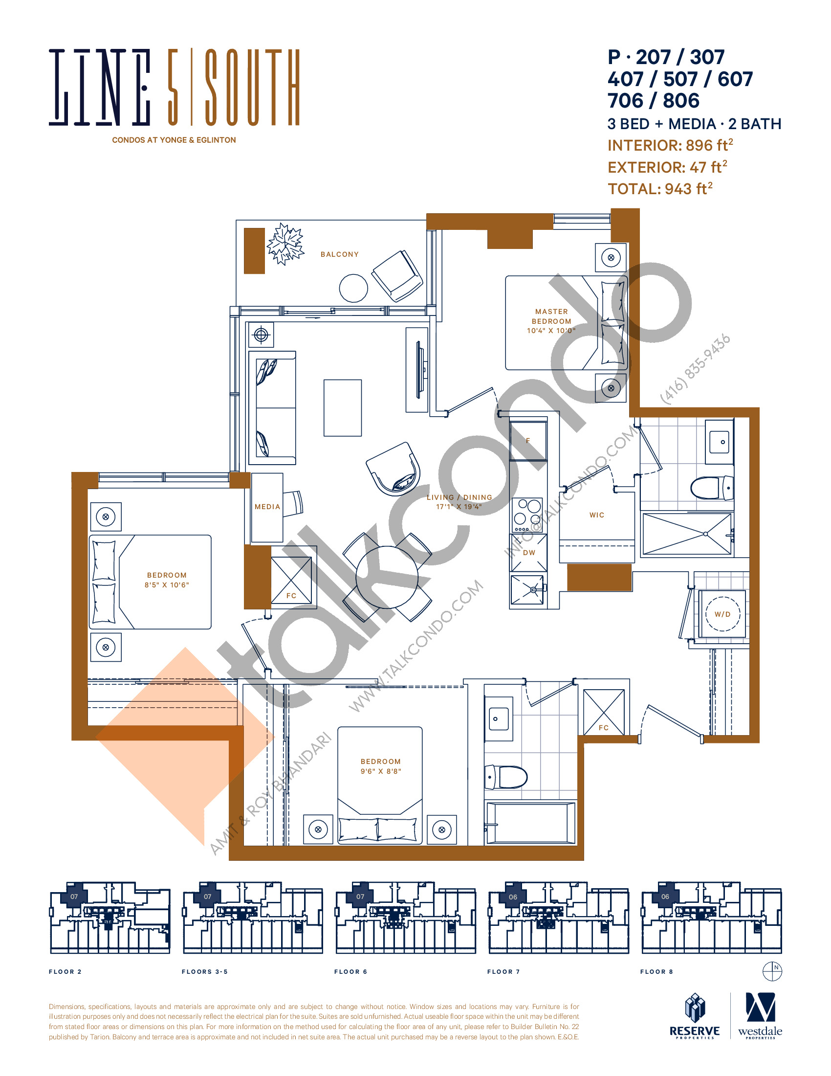 P-207 / 307 / 407 / 507 / 607 / 706 / 806 Floor Plan at Line 5 South Tower Condos - 896 sq.ft