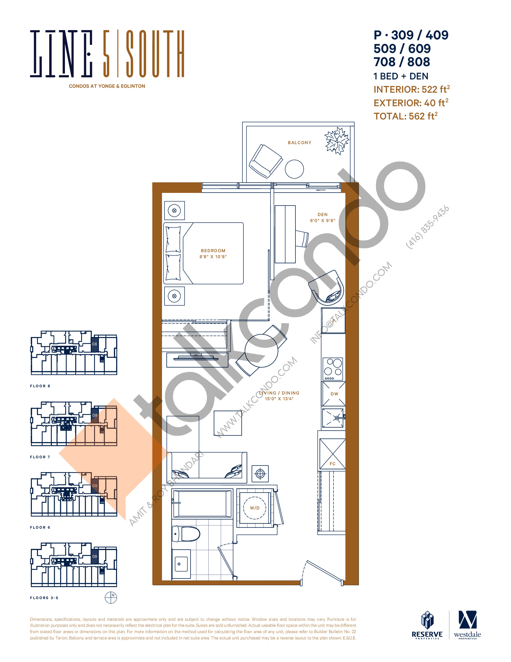 P-309 / 409 / 509 / 609 / 708 / 808 Floor Plan at Line 5 South Tower Condos - 522 sq.ft