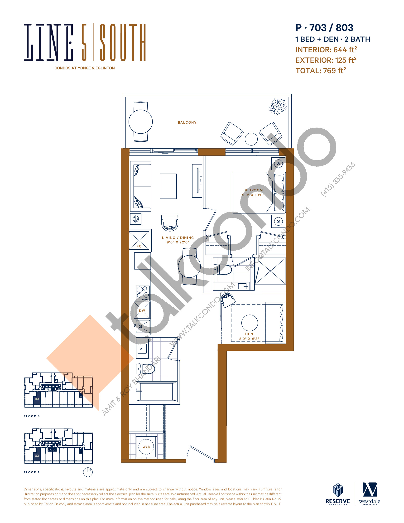 P-703 / 803 Floor Plan at Line 5 South Tower Condos - 644 sq.ft
