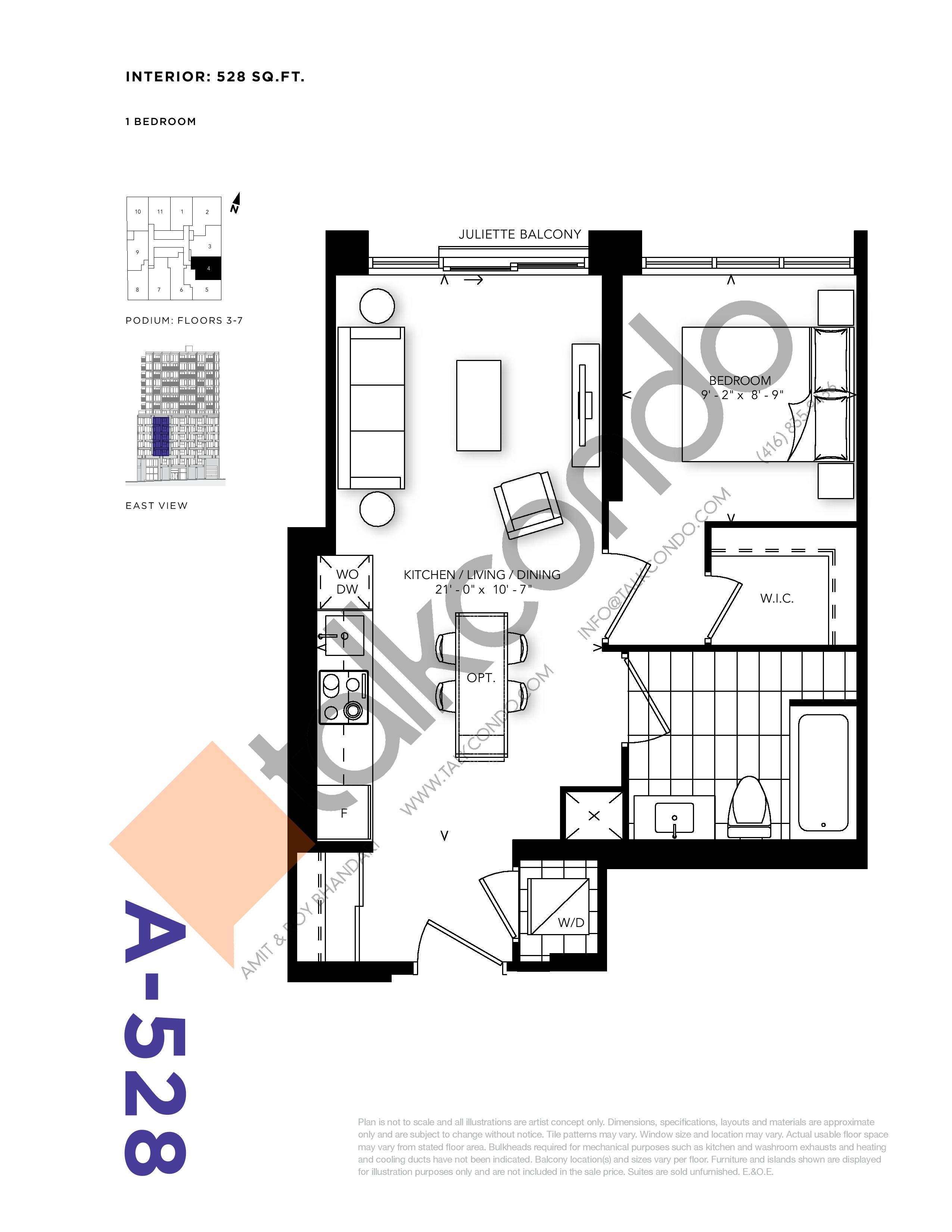 A-528 Floor Plan at RUSH Condos - 528 sq.ft