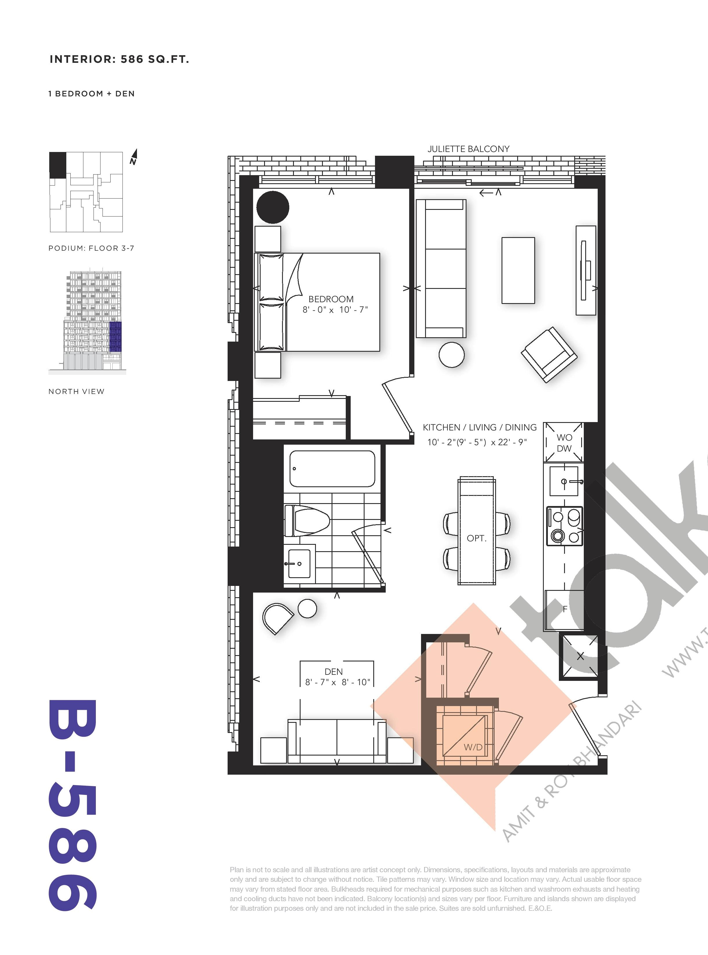 B-586 Floor Plan at RUSH Condos - 586 sq.ft