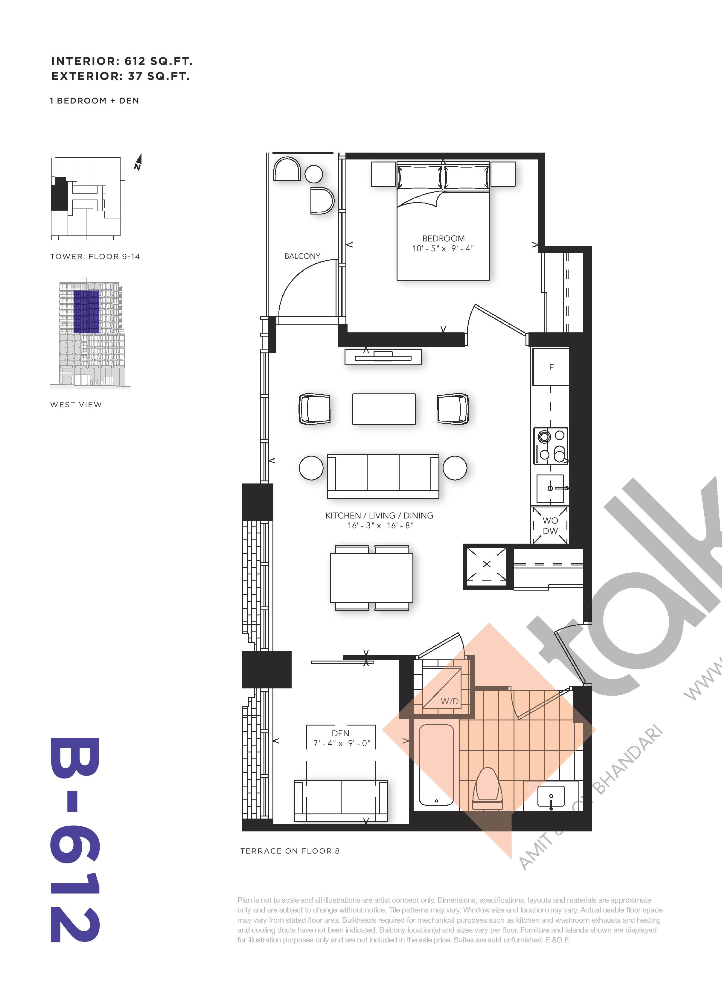 B-612 Floor Plan at RUSH Condos - 612 sq.ft