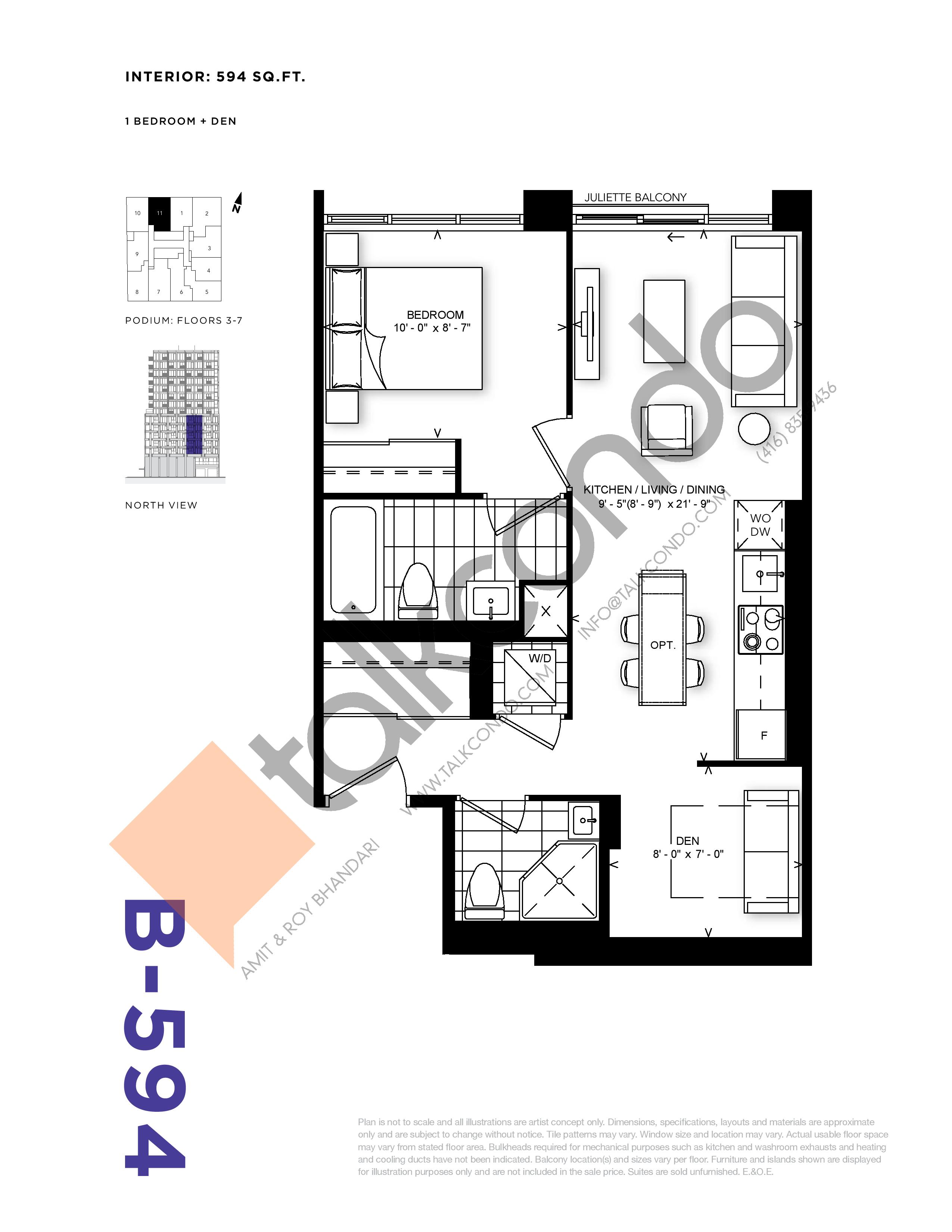 B-594 Floor Plan at RUSH Condos - 594 sq.ft