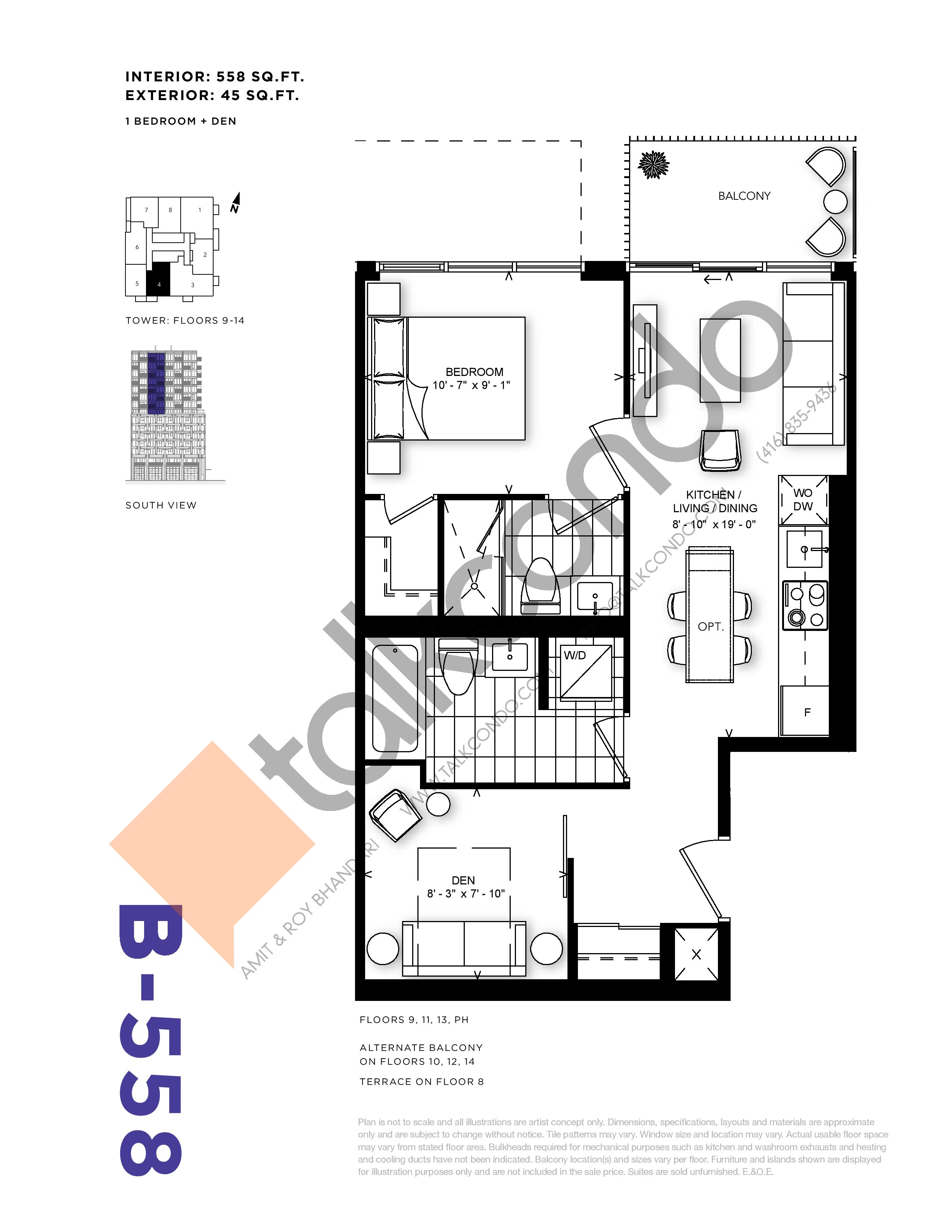 B-558 Floor Plan at RUSH Condos - 558 sq.ft