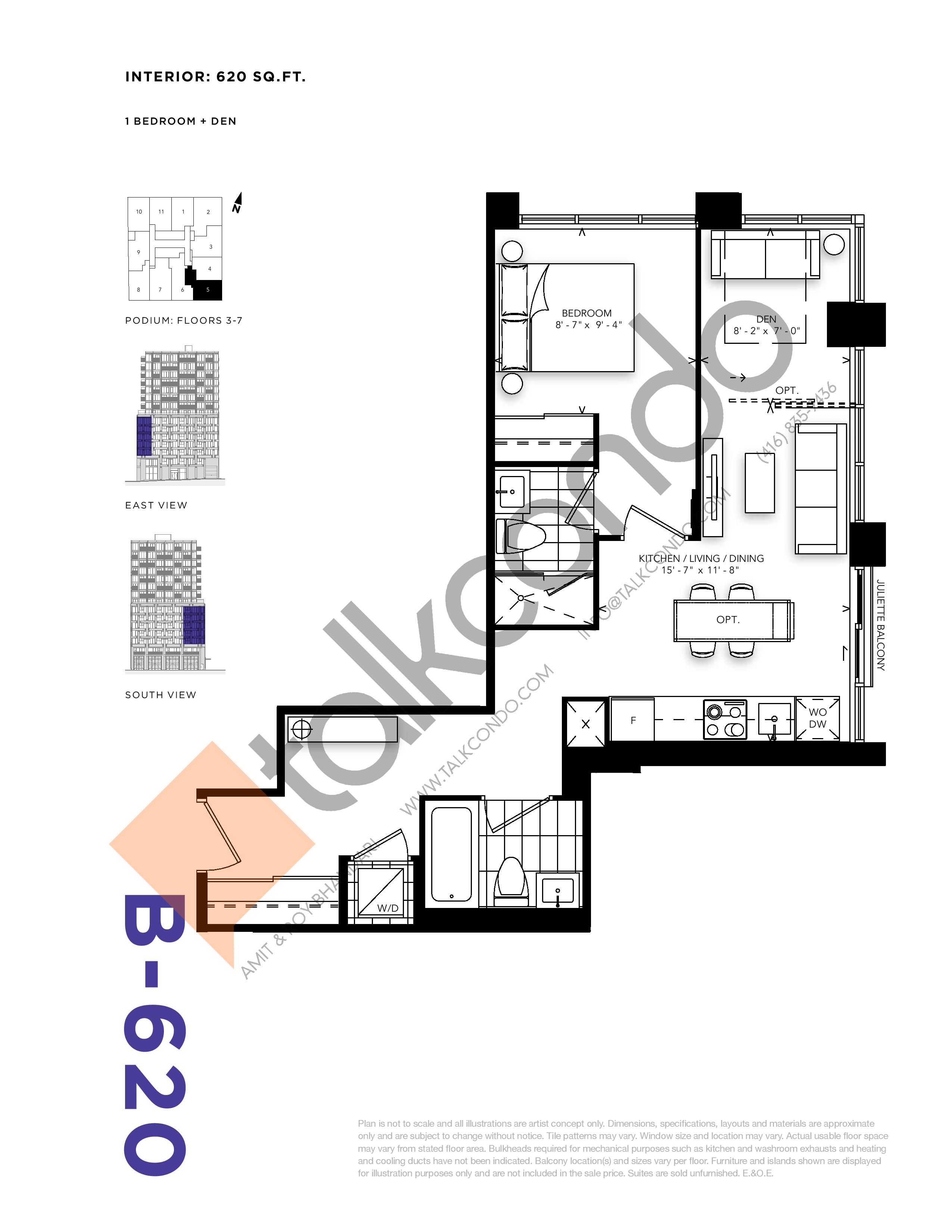 B-620 Floor Plan at RUSH Condos - 620 sq.ft