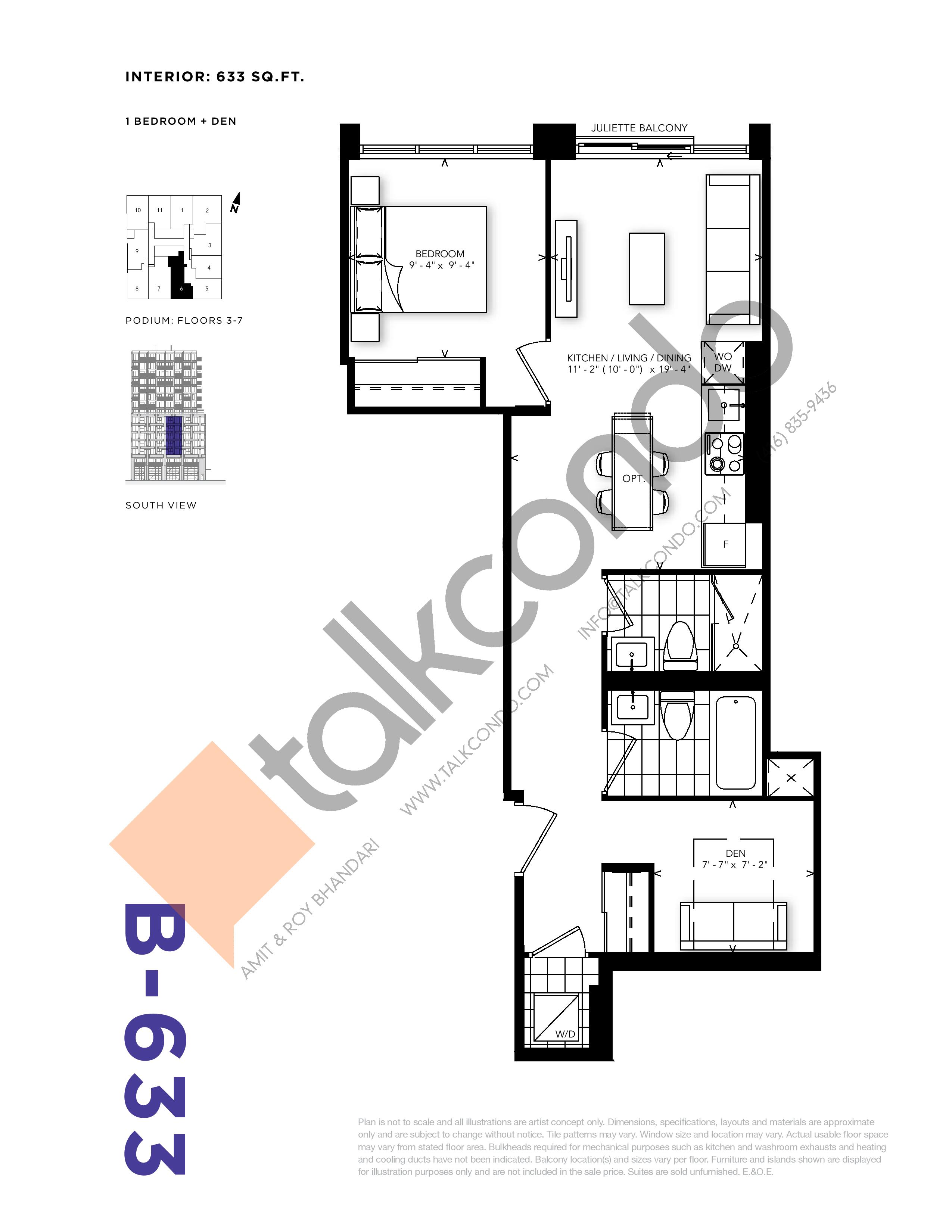 B-633 Floor Plan at RUSH Condos - 633 sq.ft