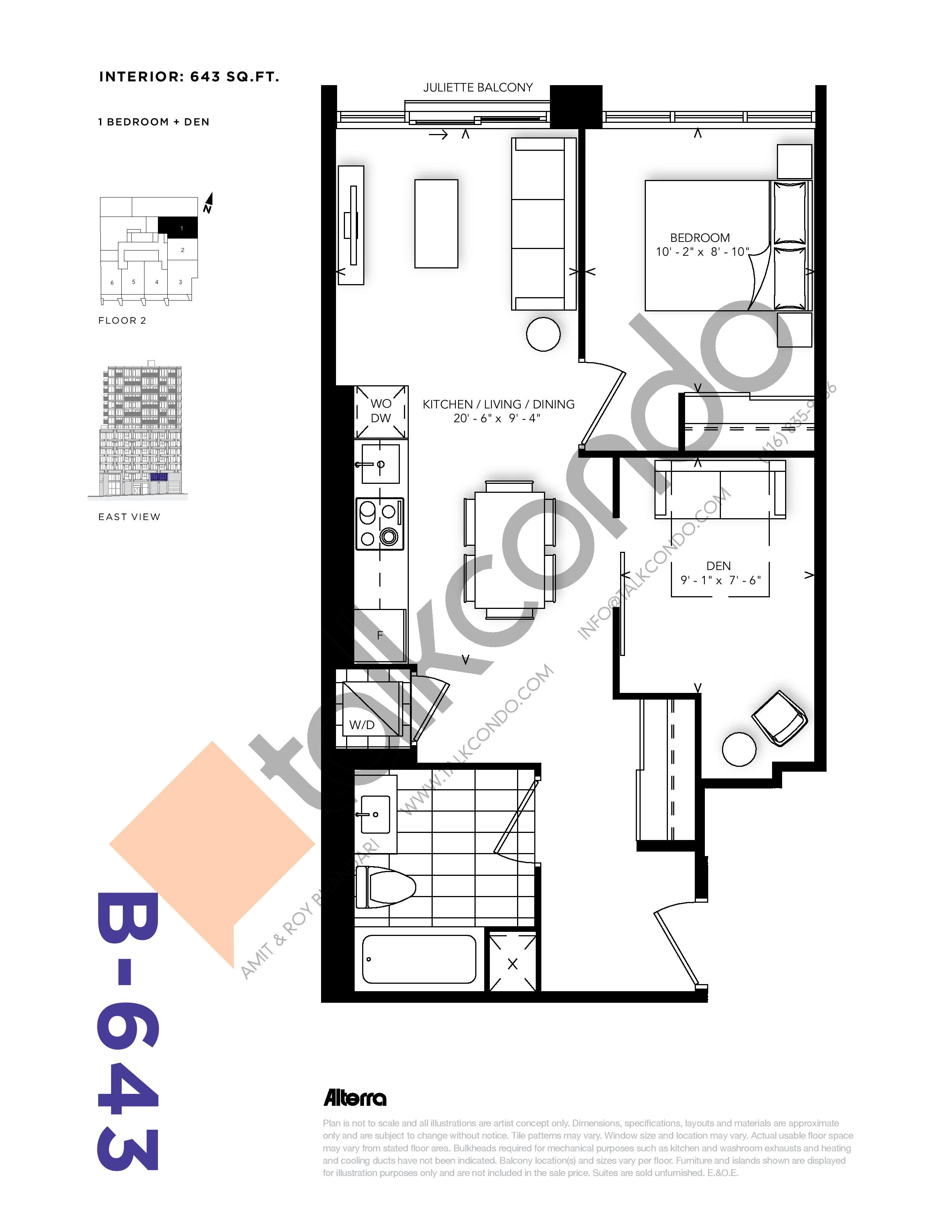 B-643 Floor Plan at RUSH Condos - 643 sq.ft