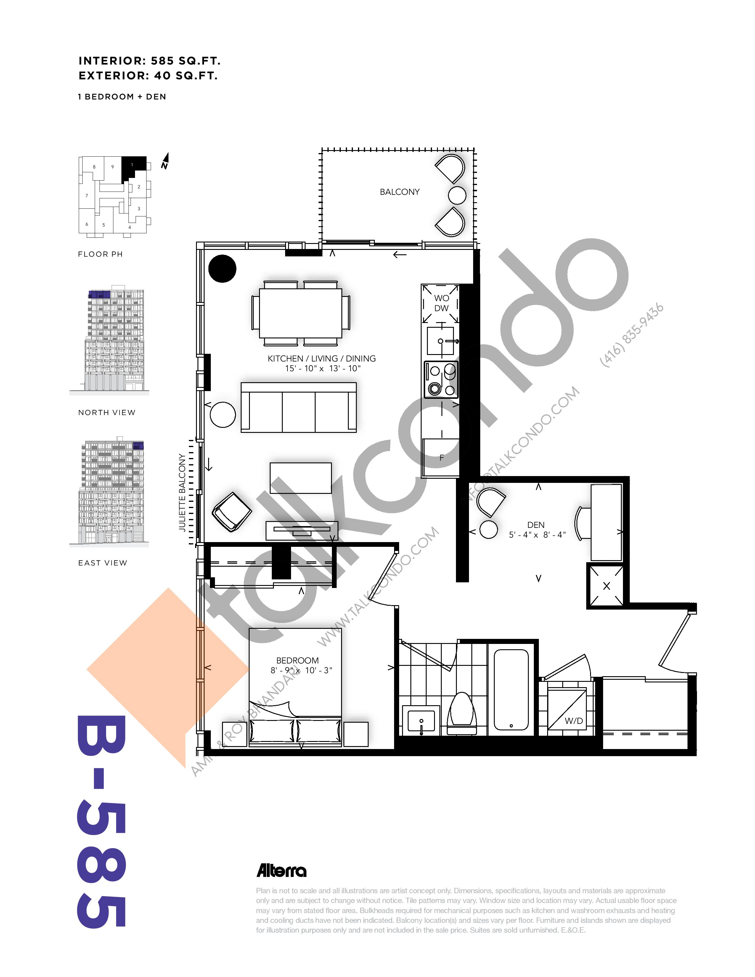 B-585 Floor Plan at RUSH Condos - 585 sq.ft