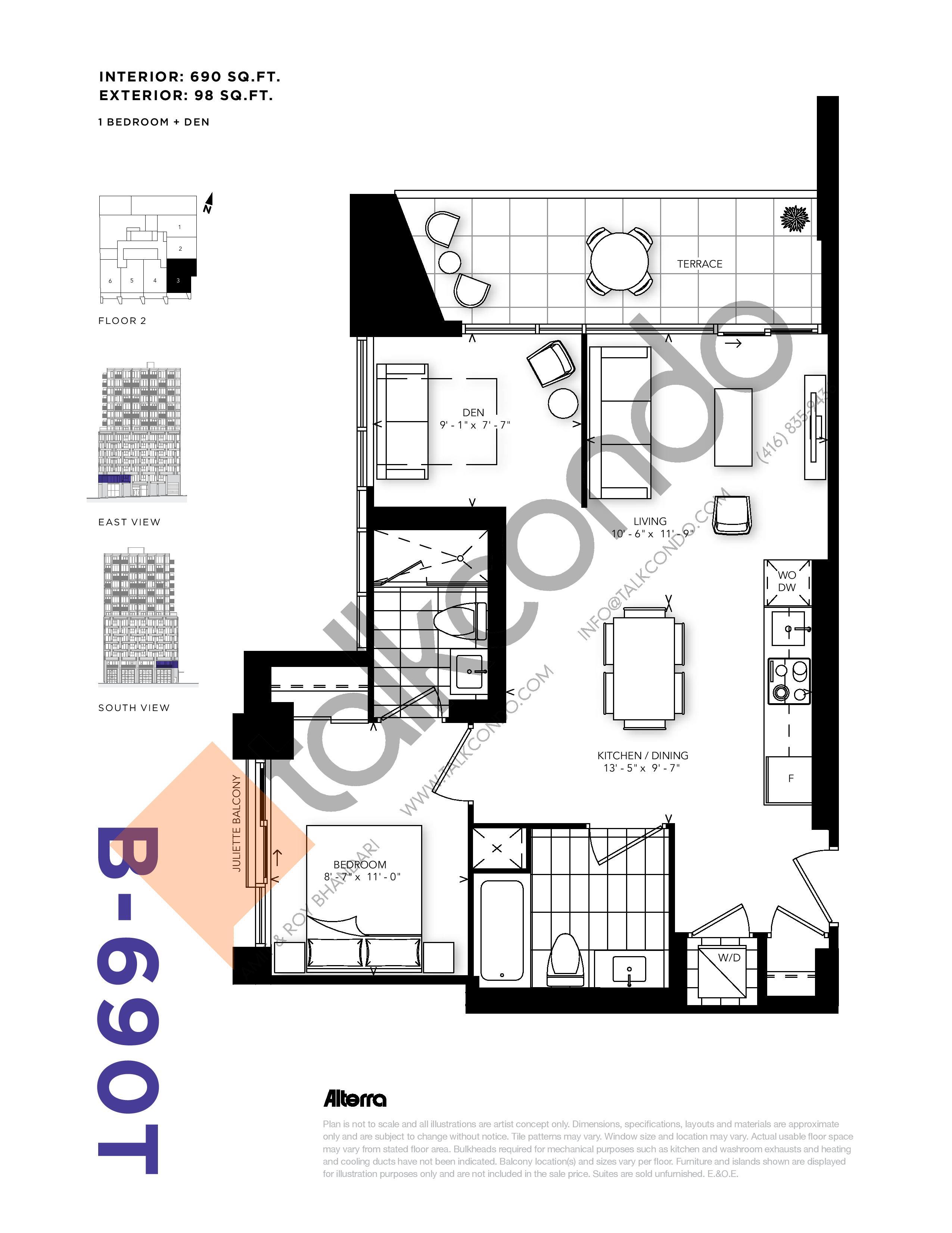 B-690T Floor Plan at RUSH Condos - 690 sq.ft