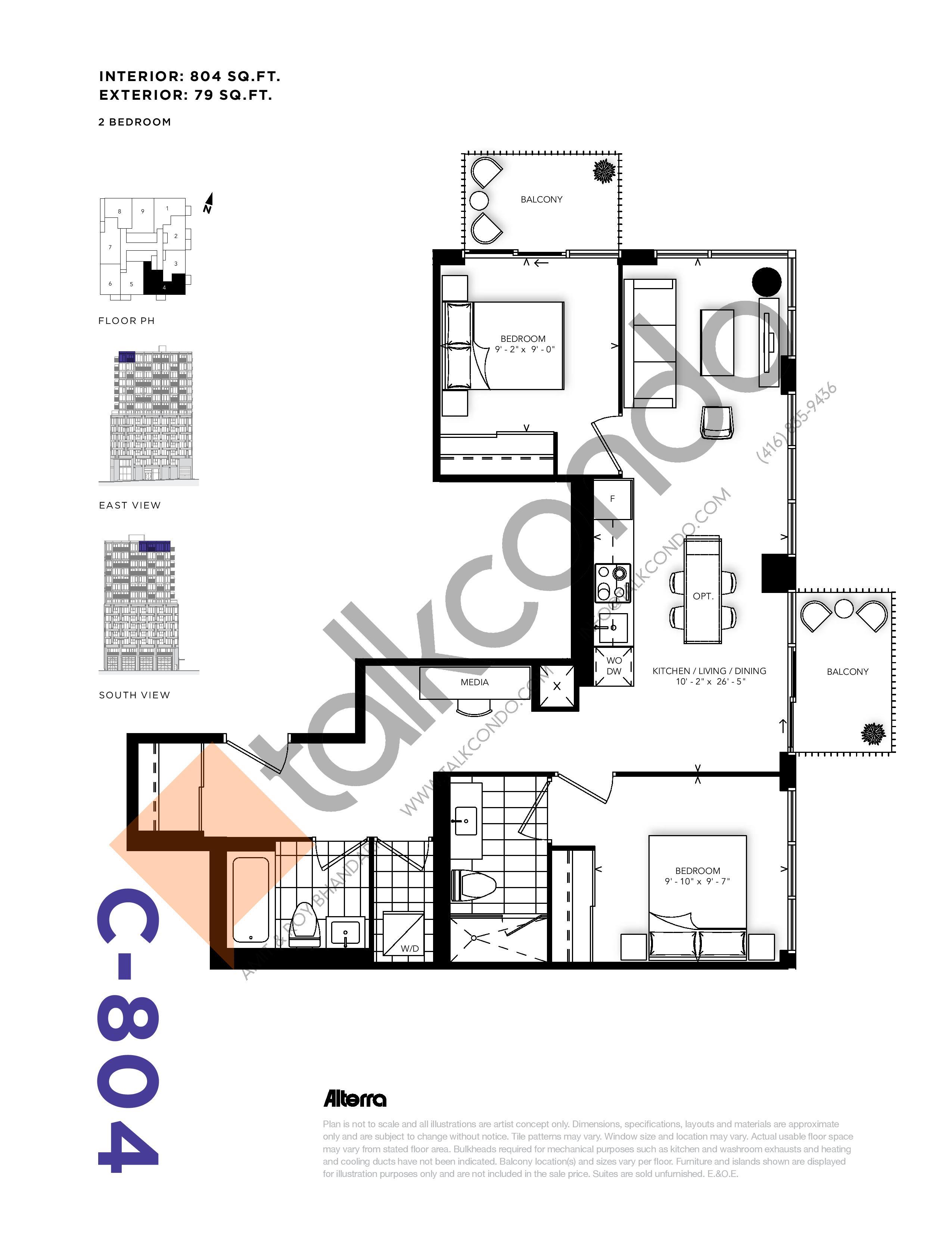 C-804 Floor Plan at RUSH Condos - 804 sq.ft