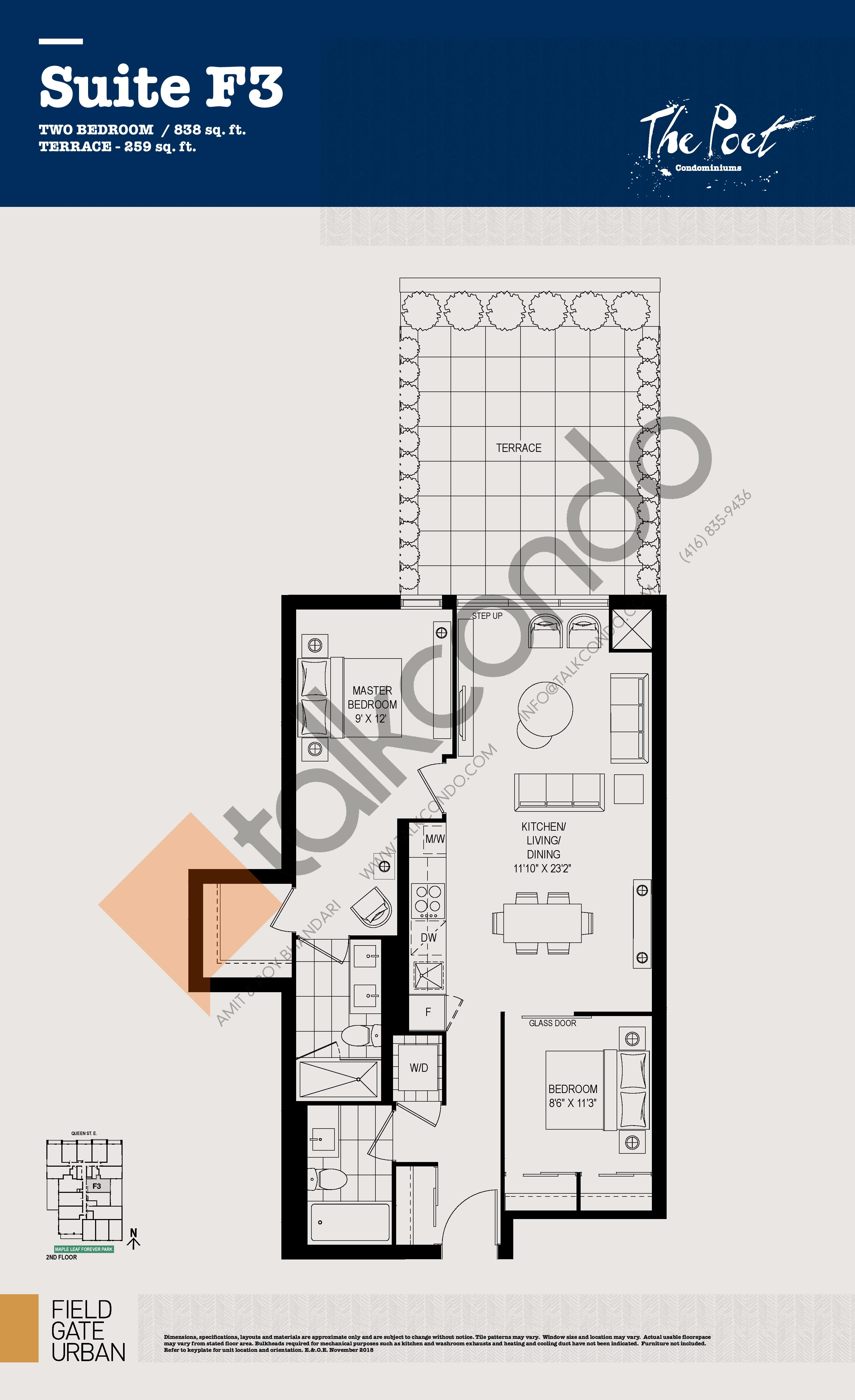 F3 Floor Plan at The Poet Condos - 838 sq.ft