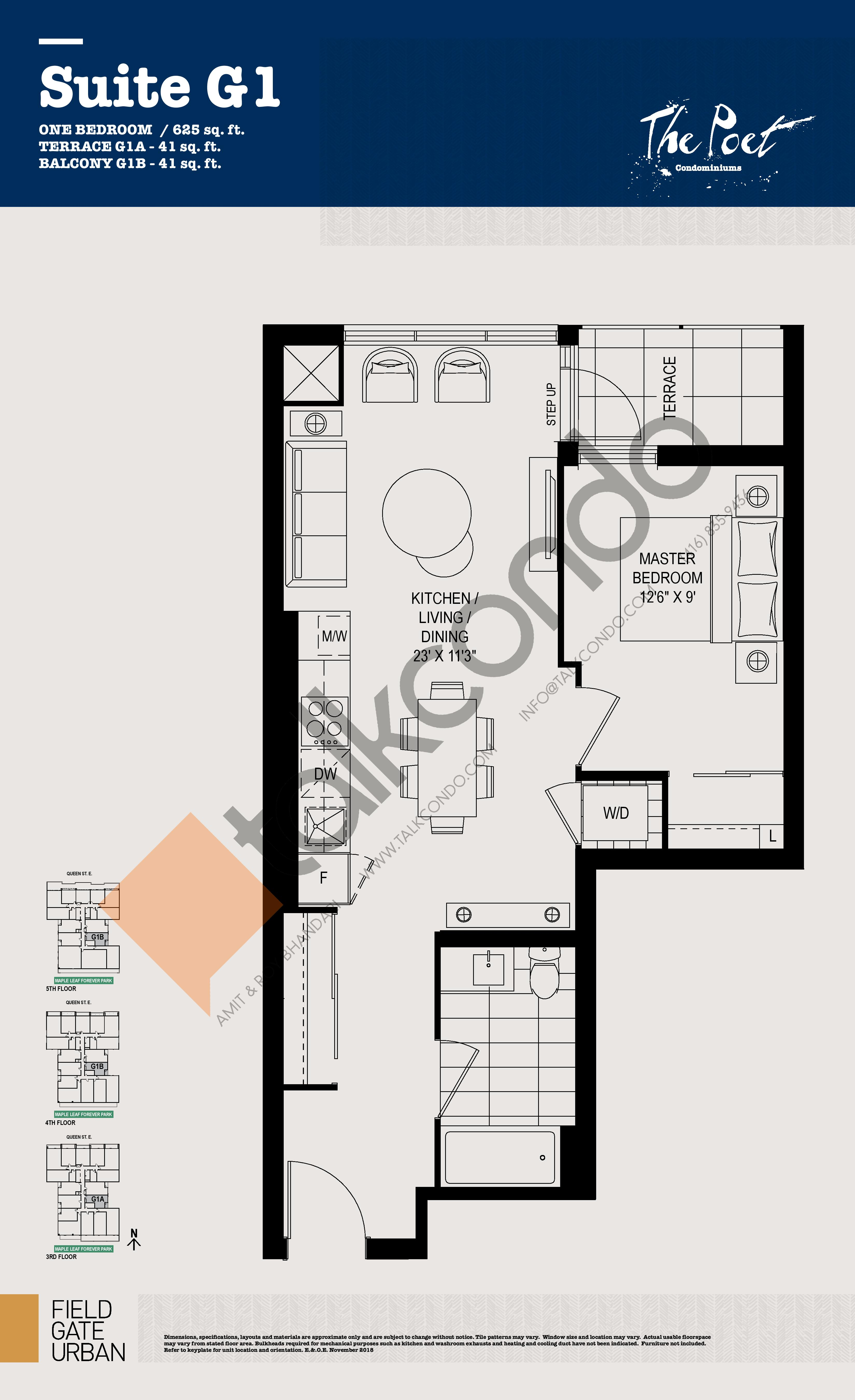G1 Floor Plan at The Poet Condos - 625 sq.ft