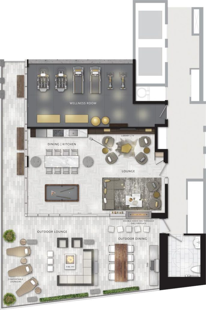 UOVO Boutique Residences 2nd Floor Amenity Plan