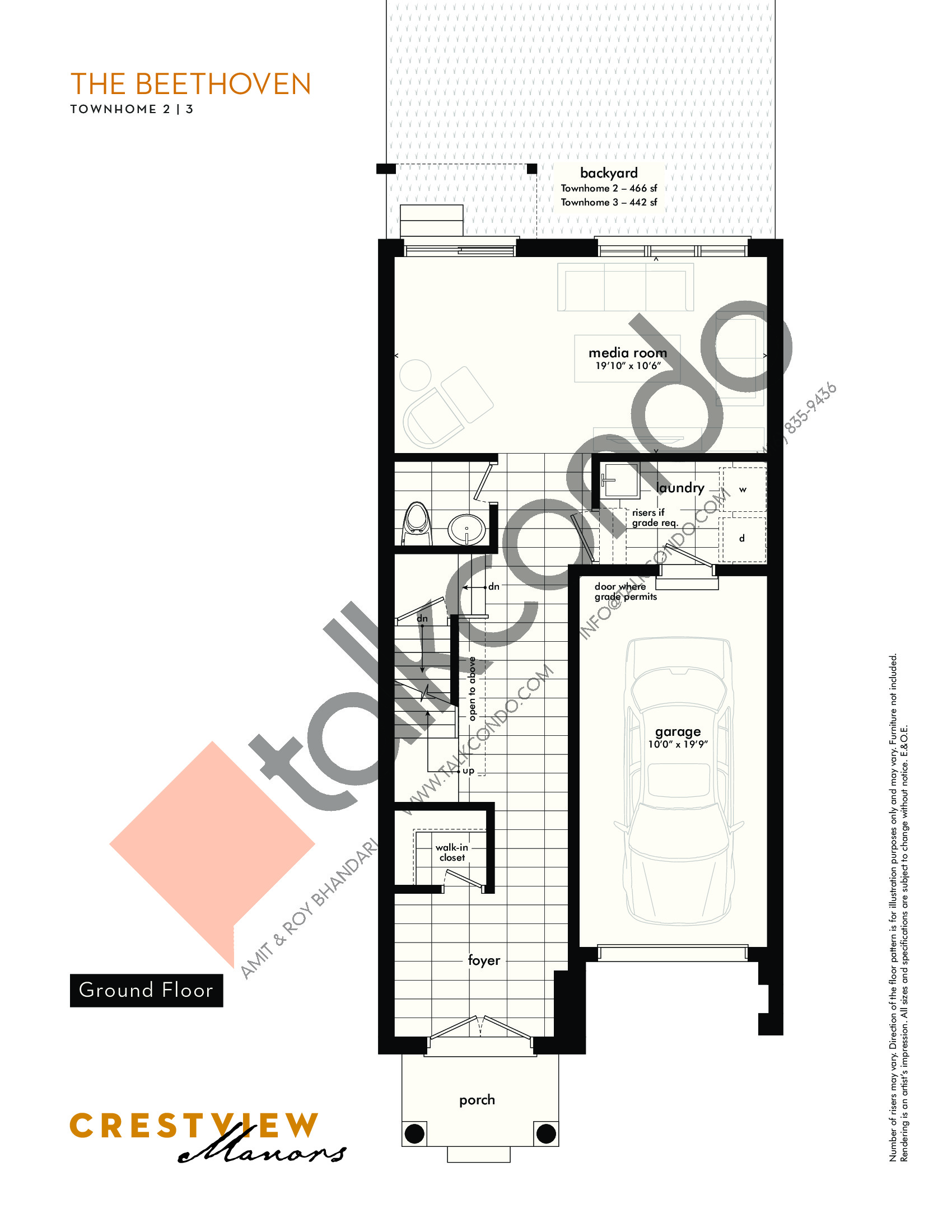 The Beethoven - Ground Floor Floor Plan at Crestview Manors - 2362 sq.ft