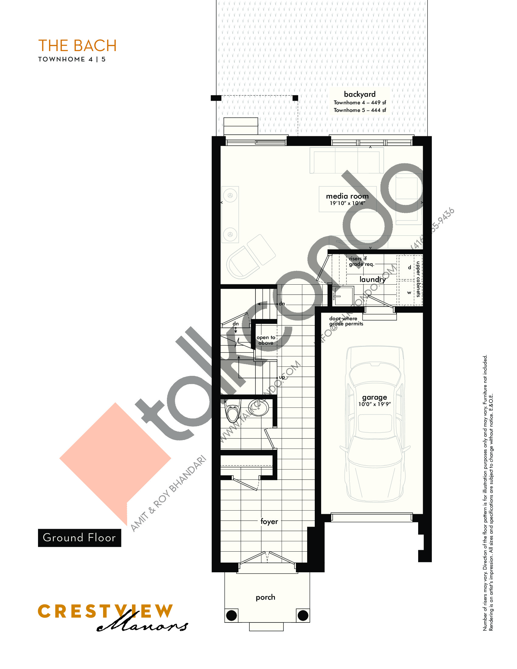 The Bach - Ground Floor Floor Plan at Crestview Manors - 2333 sq.ft