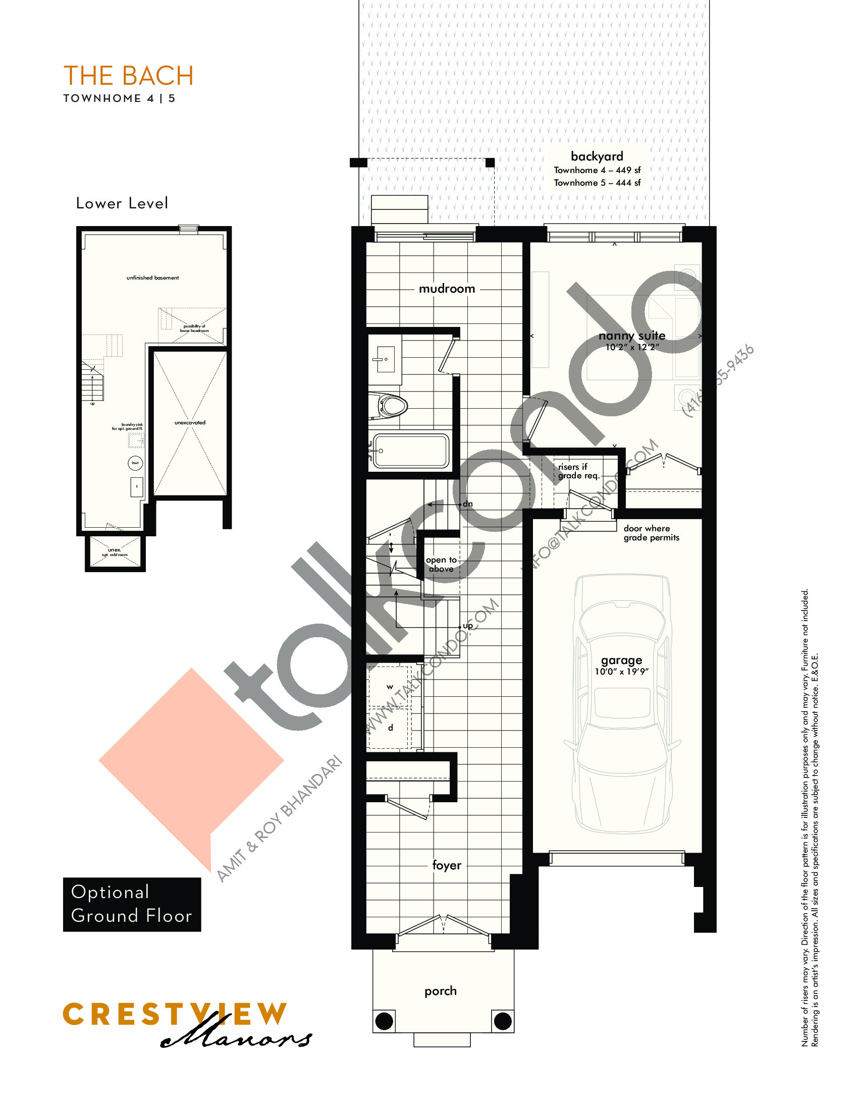 The Bach - Optional Ground Floor Floor Plan at Crestview Manors - 2333 sq.ft