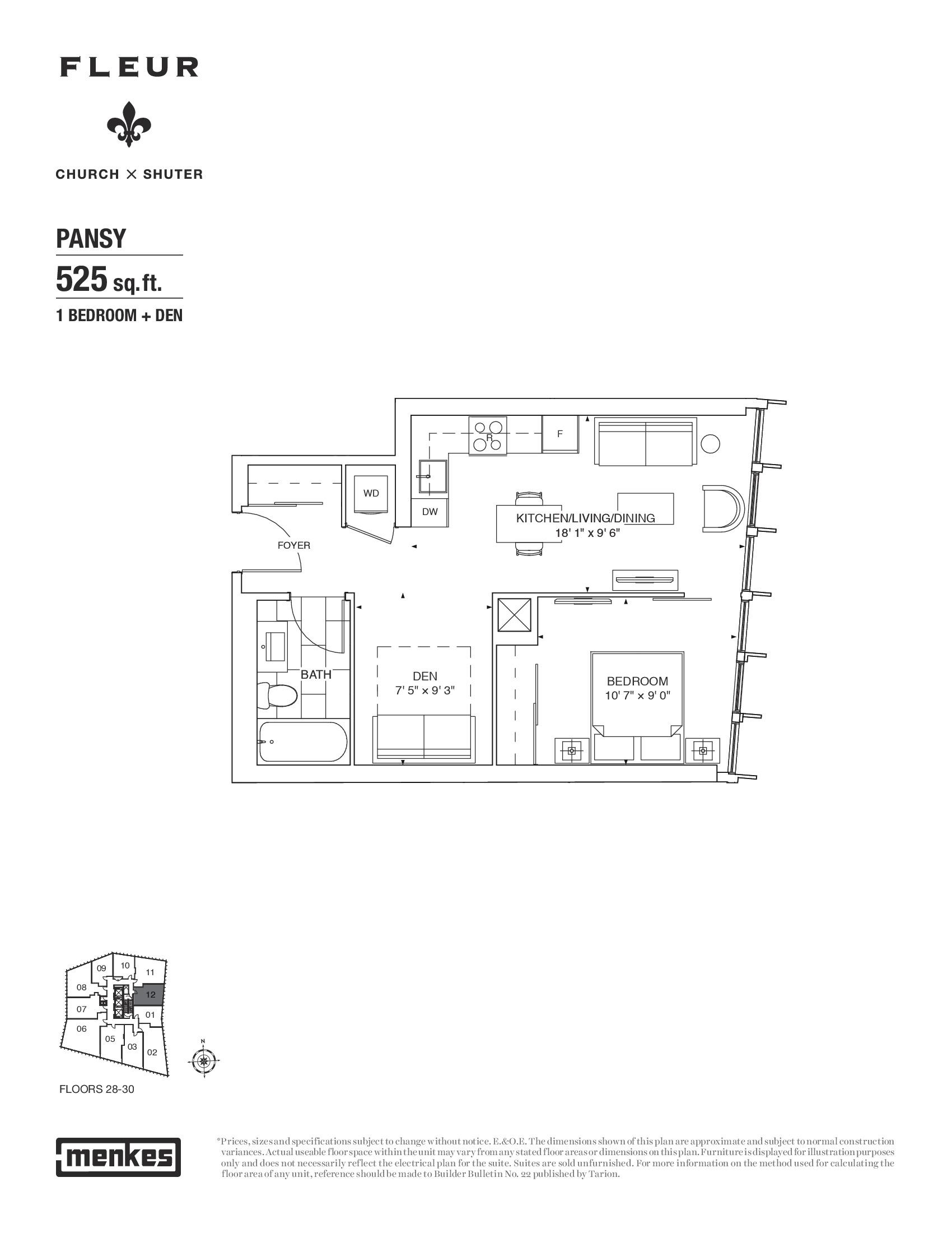 Pansy Floor Plan at Fleur Condos - 525 sq.ft
