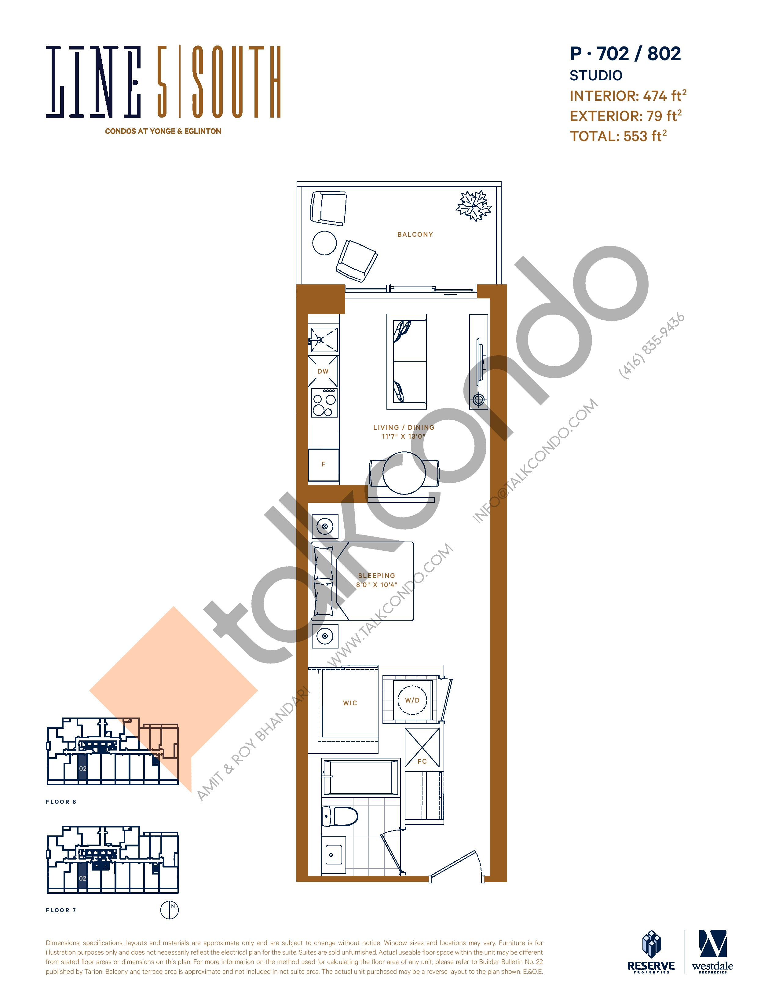 P-702 / 802 Floor Plan at Line 5 South Tower Condos - 474 sq.ft