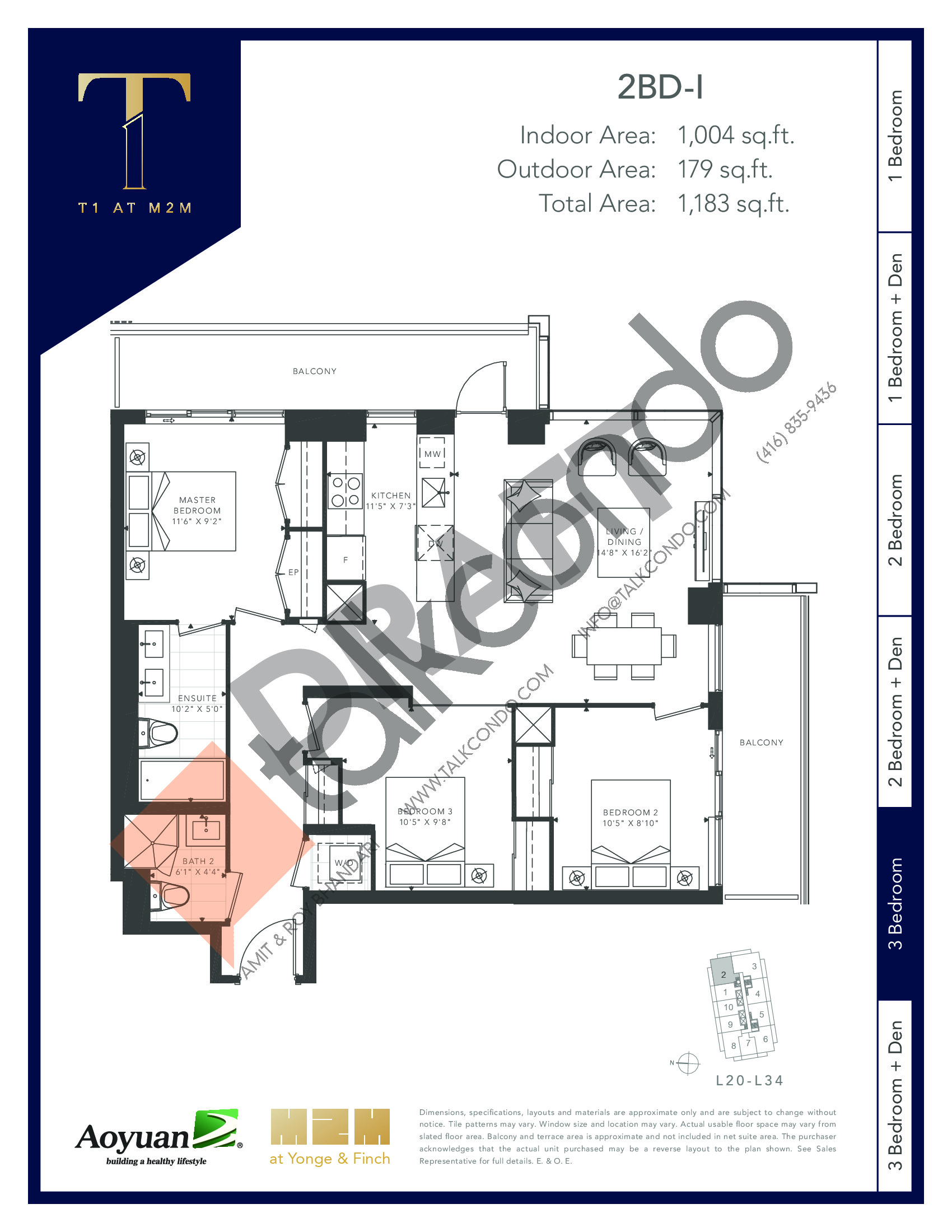 2BD-I (Tower) Floor Plan at T1 at M2M Condos - 1004 sq.ft