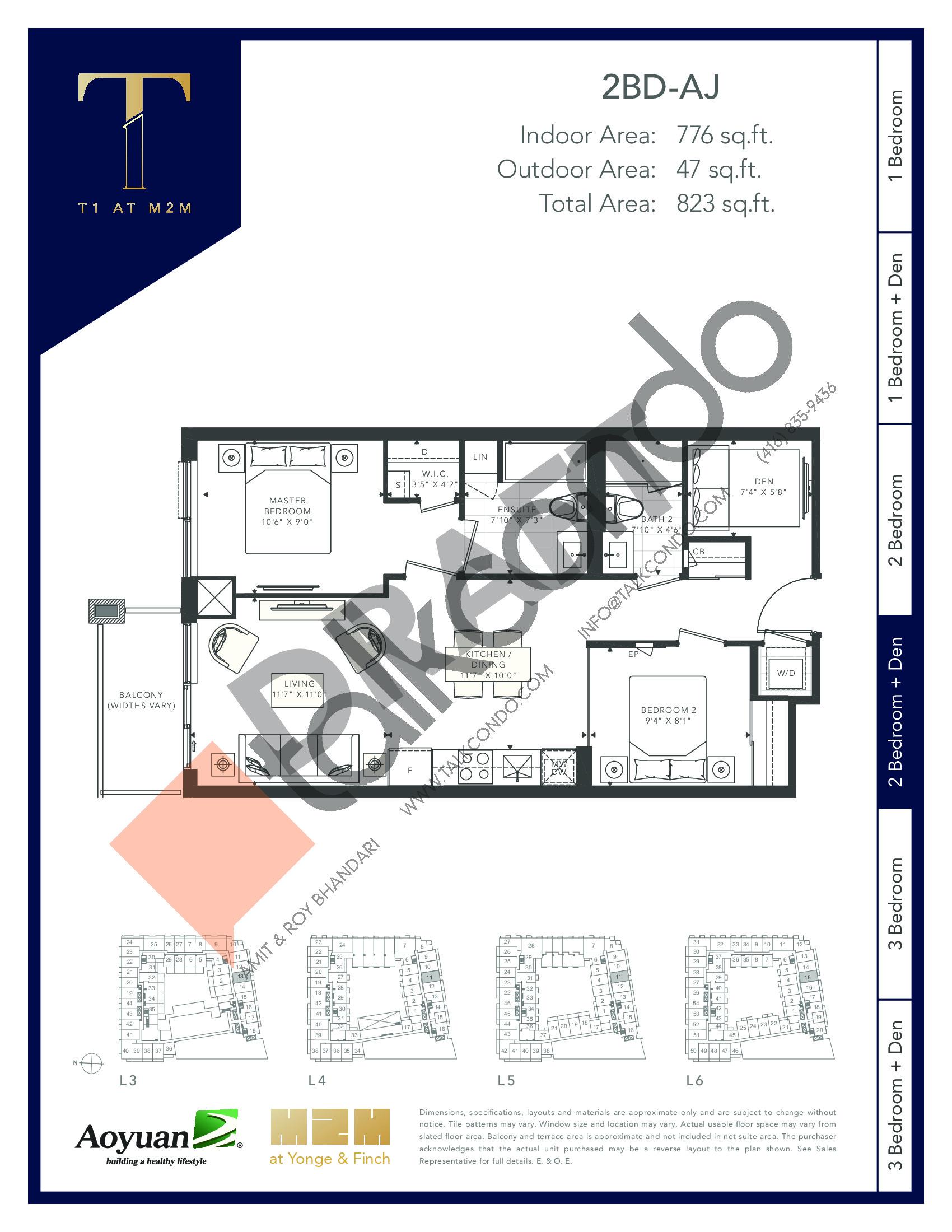 2BD-AJ (Podium) Floor Plan at T1 at M2M Condos - 776 sq.ft
