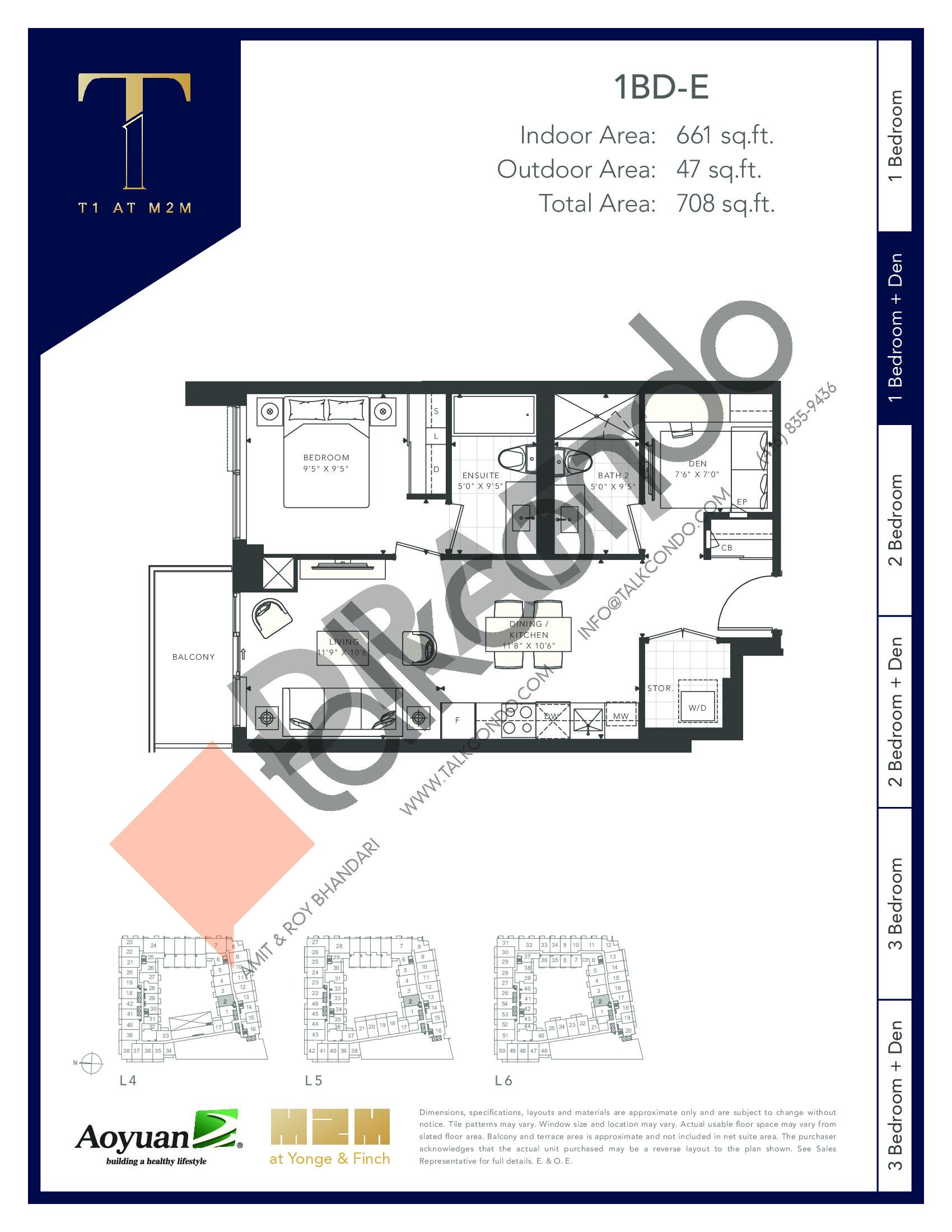 1BD-E (Podium) Floor Plan at T1 at M2M Condos - 661 sq.ft