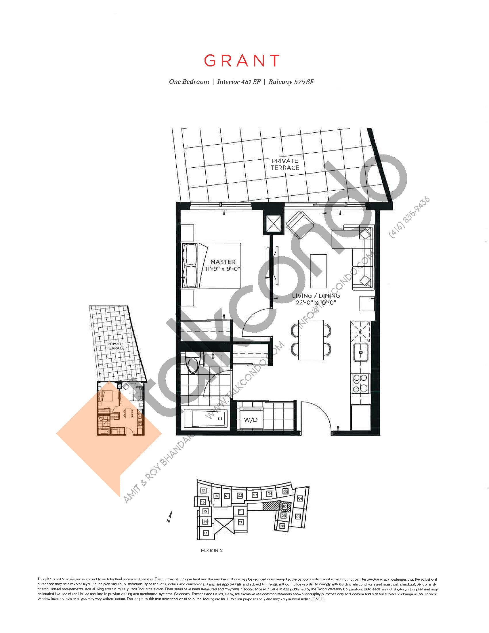 Grant Floor Plan at The Point at Emerald City Condos - 481 sq.ft