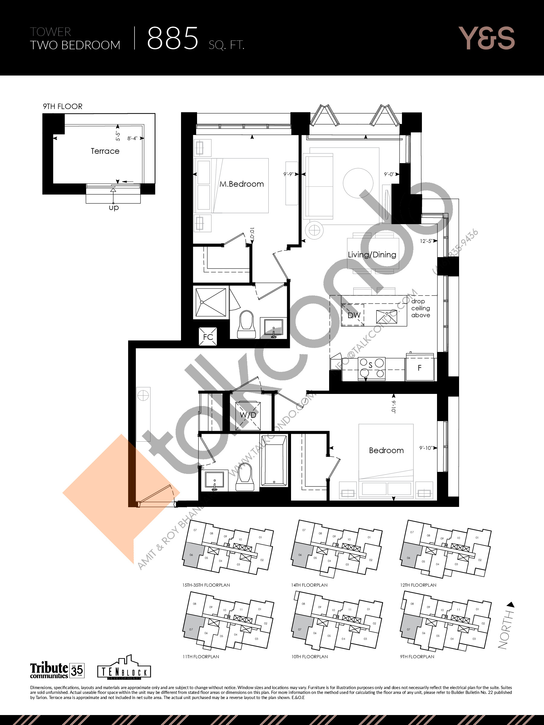 885 sq. ft. Floor Plan at Y&S Condos - 885 sq.ft