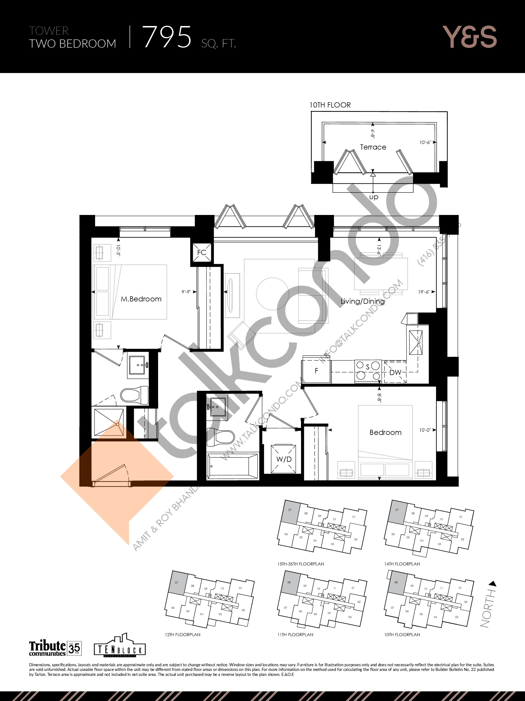 795 sq. ft. Floor Plan at Y&S Condos - 795 sq.ft