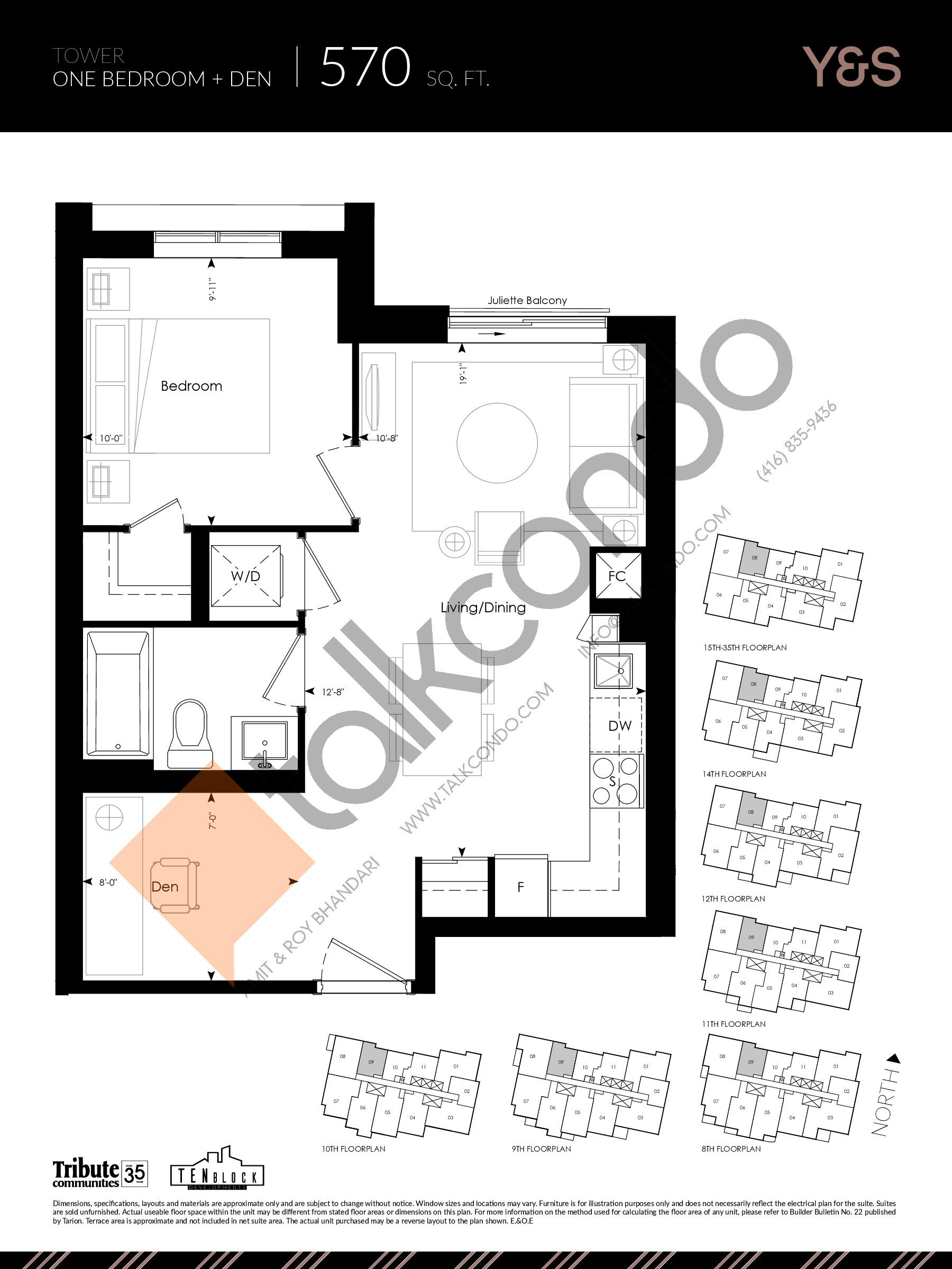 570 sq. ft. Floor Plan at Y&S Condos - 570 sq.ft