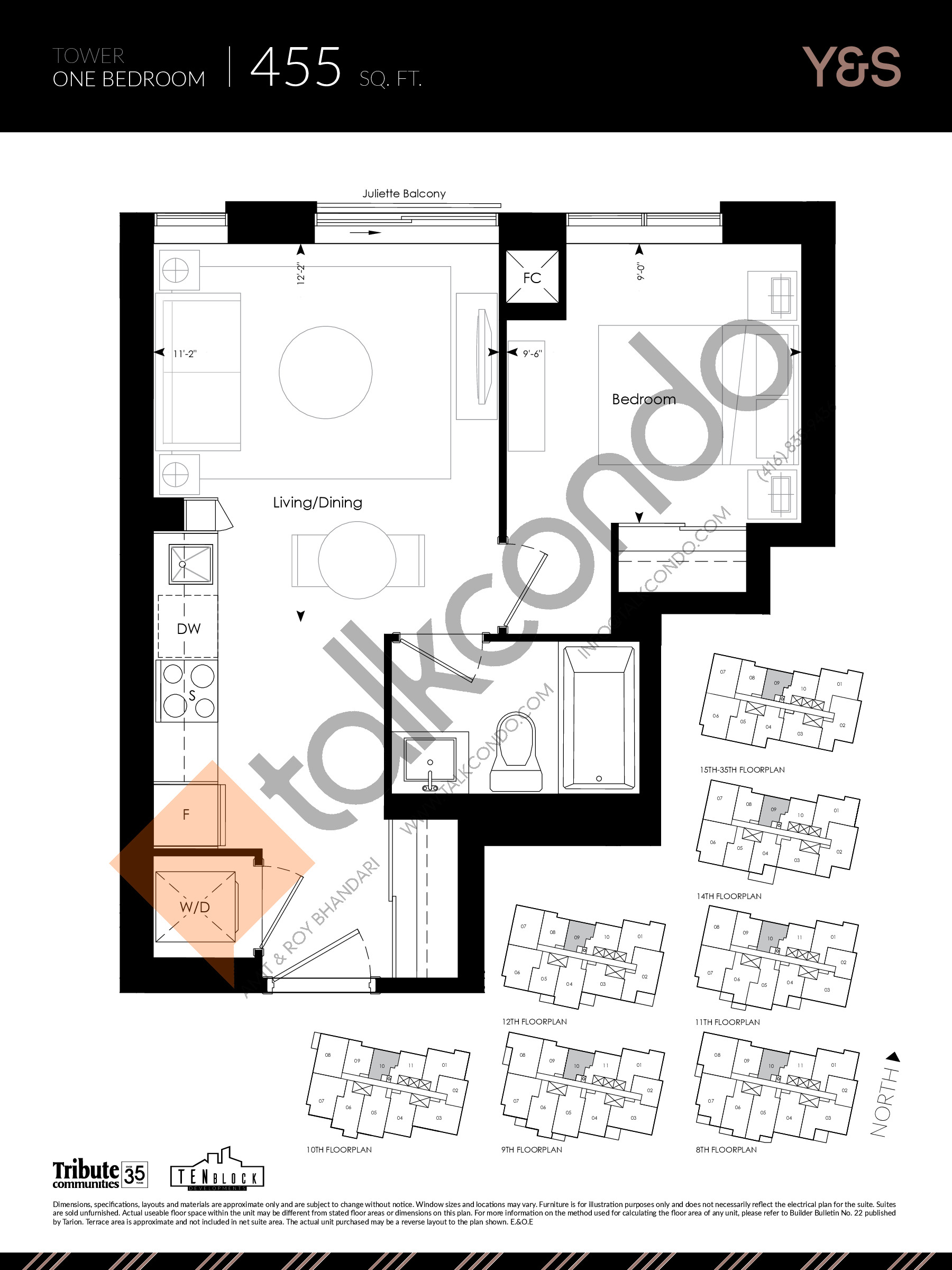455 sq. ft. Floor Plan at Y&S Condos - 455 sq.ft