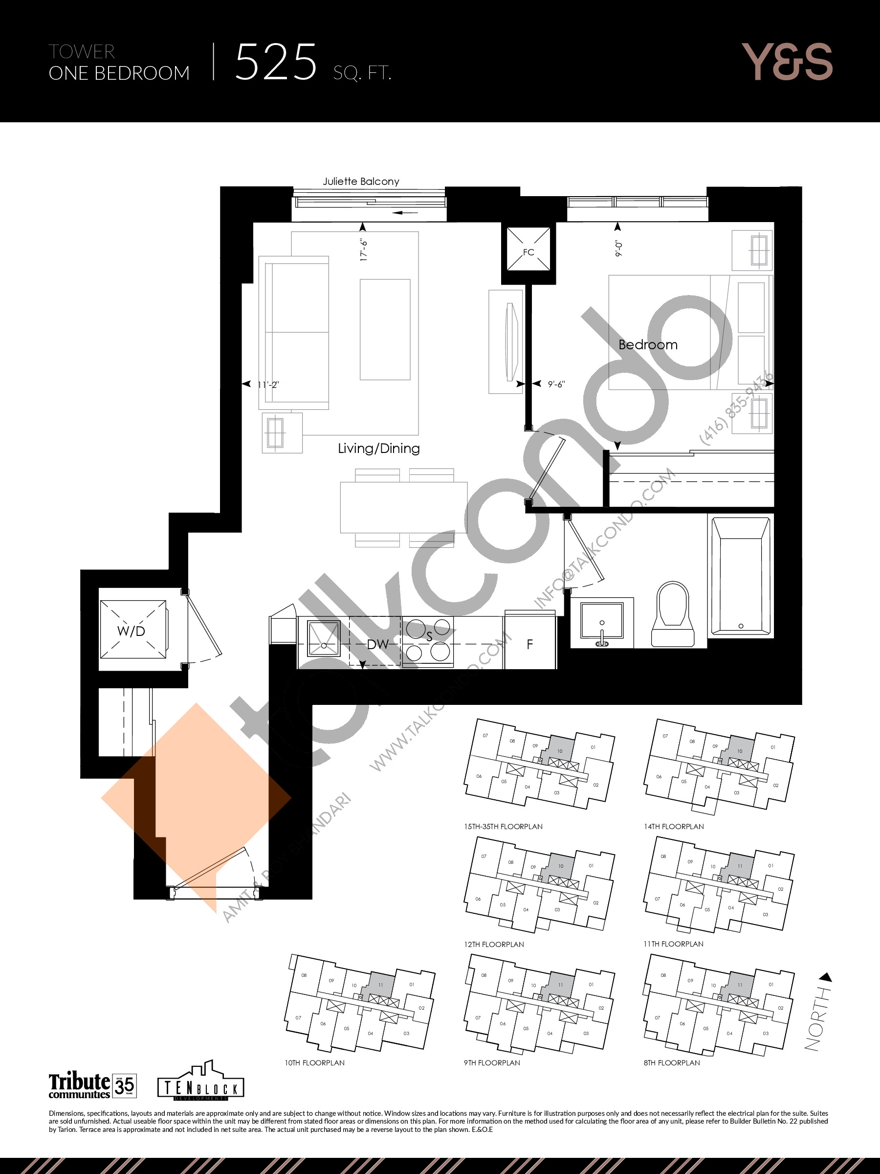525 sq. ft. Floor Plan at Y&S Condos - 525 sq.ft