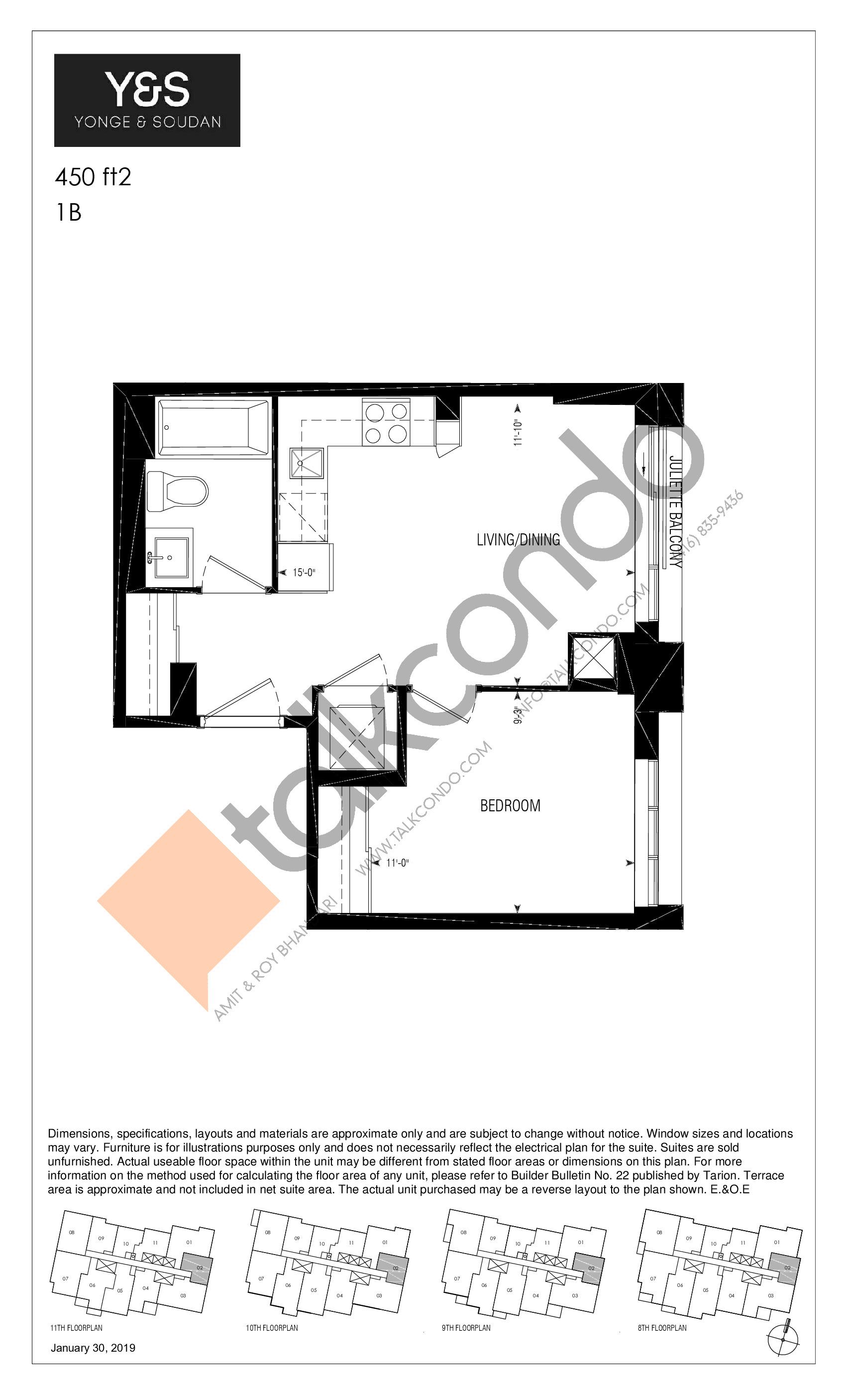 450 ft2 Floor Plan at Y&S Condos - 450 sq.ft
