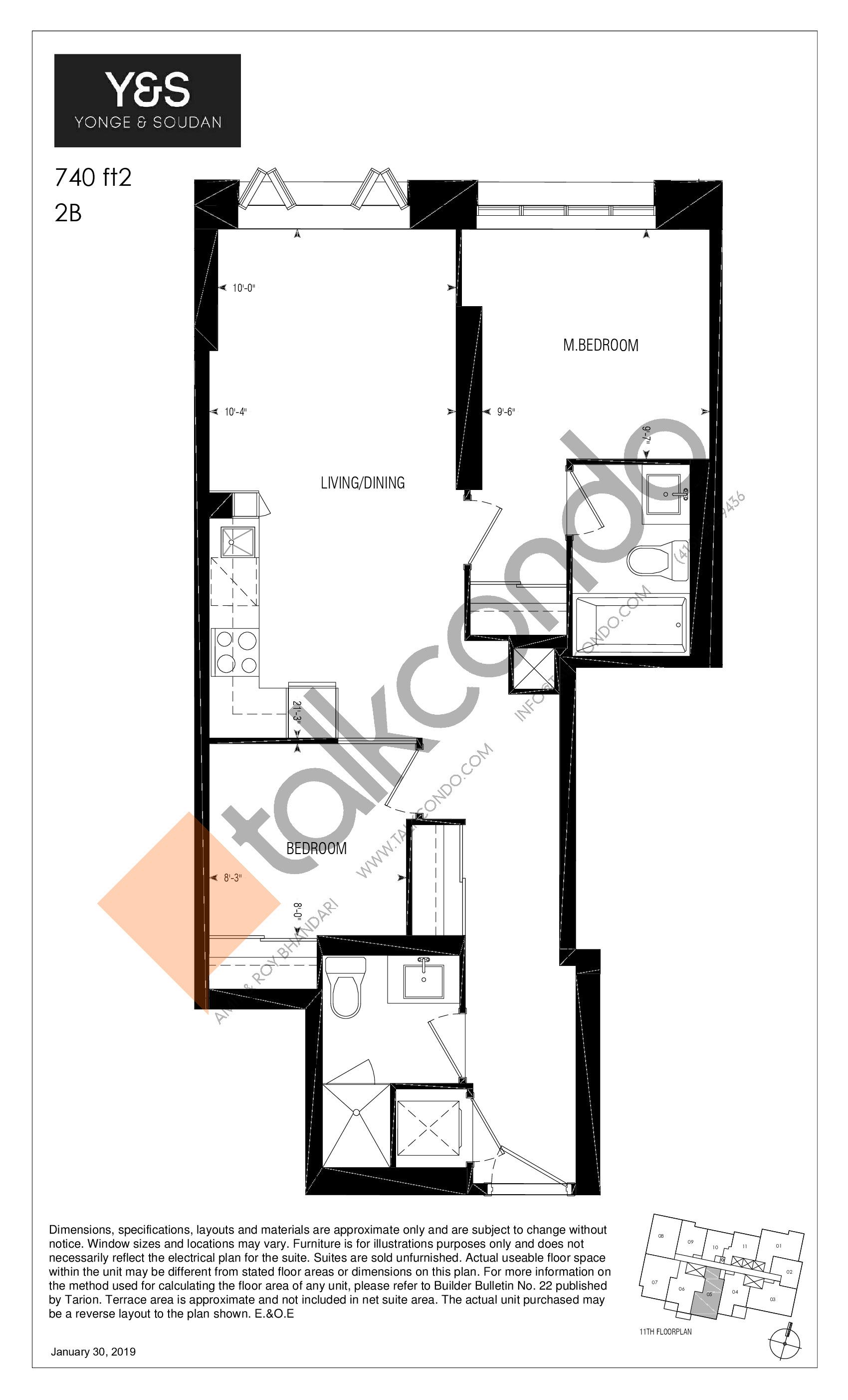 740 ft2 Floor Plan at Y&S Condos - 740 sq.ft