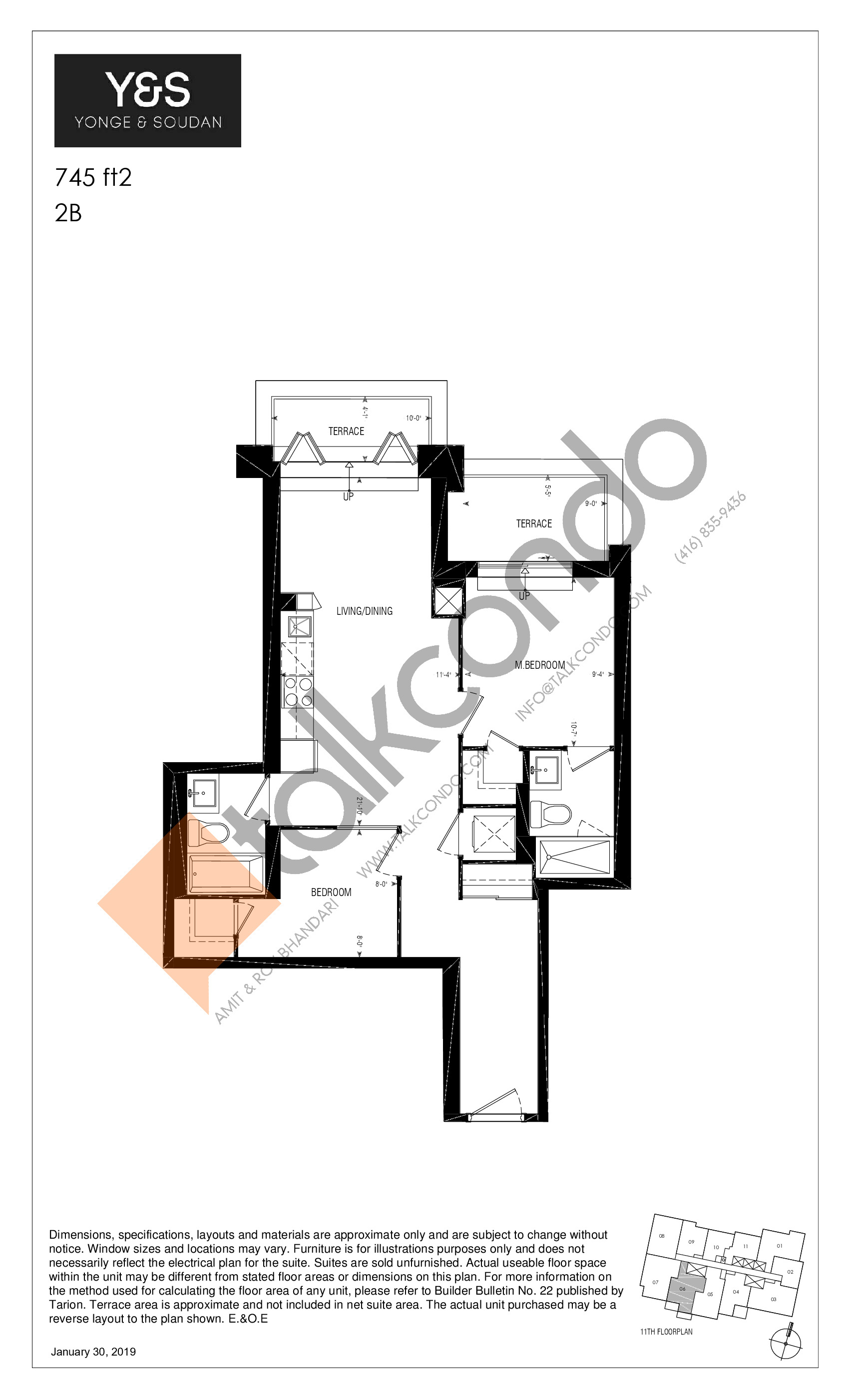 745 ft2 Floor Plan at Y&S Condos - 745 sq.ft