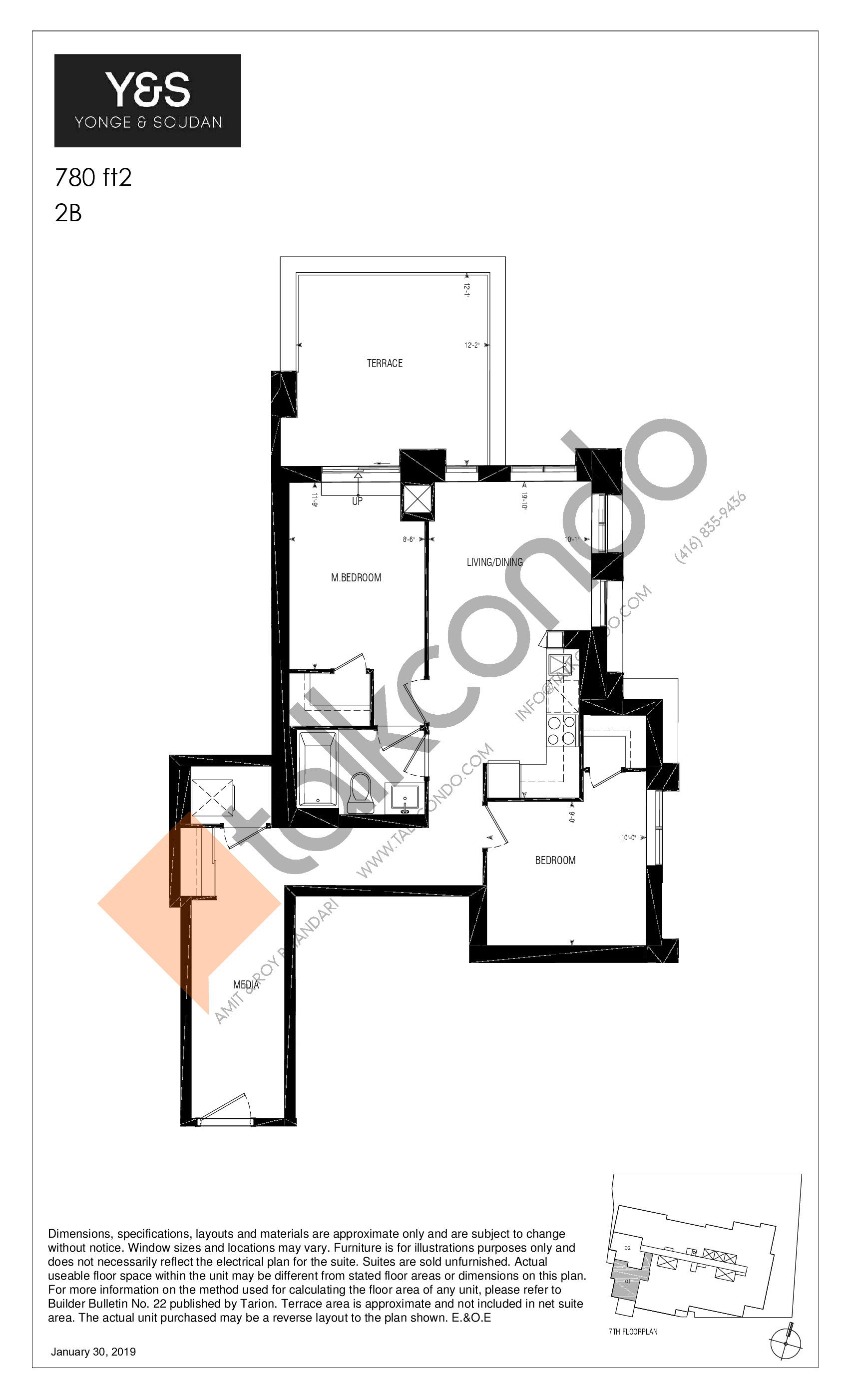 780 ft2 Floor Plan at Y&S Condos - 780 sq.ft