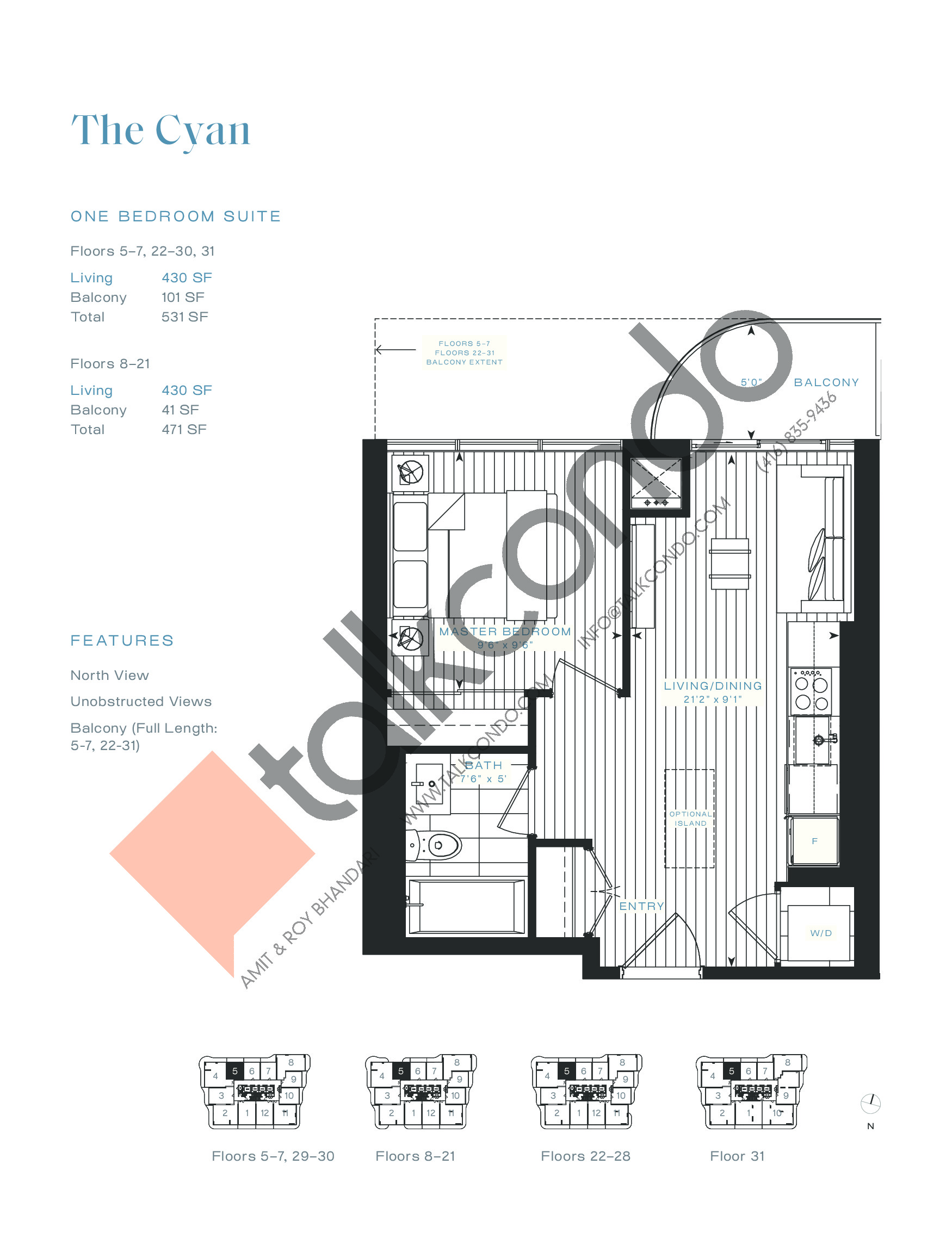 The Cyan Floor Plan at Azura Condos - 430 sq.ft