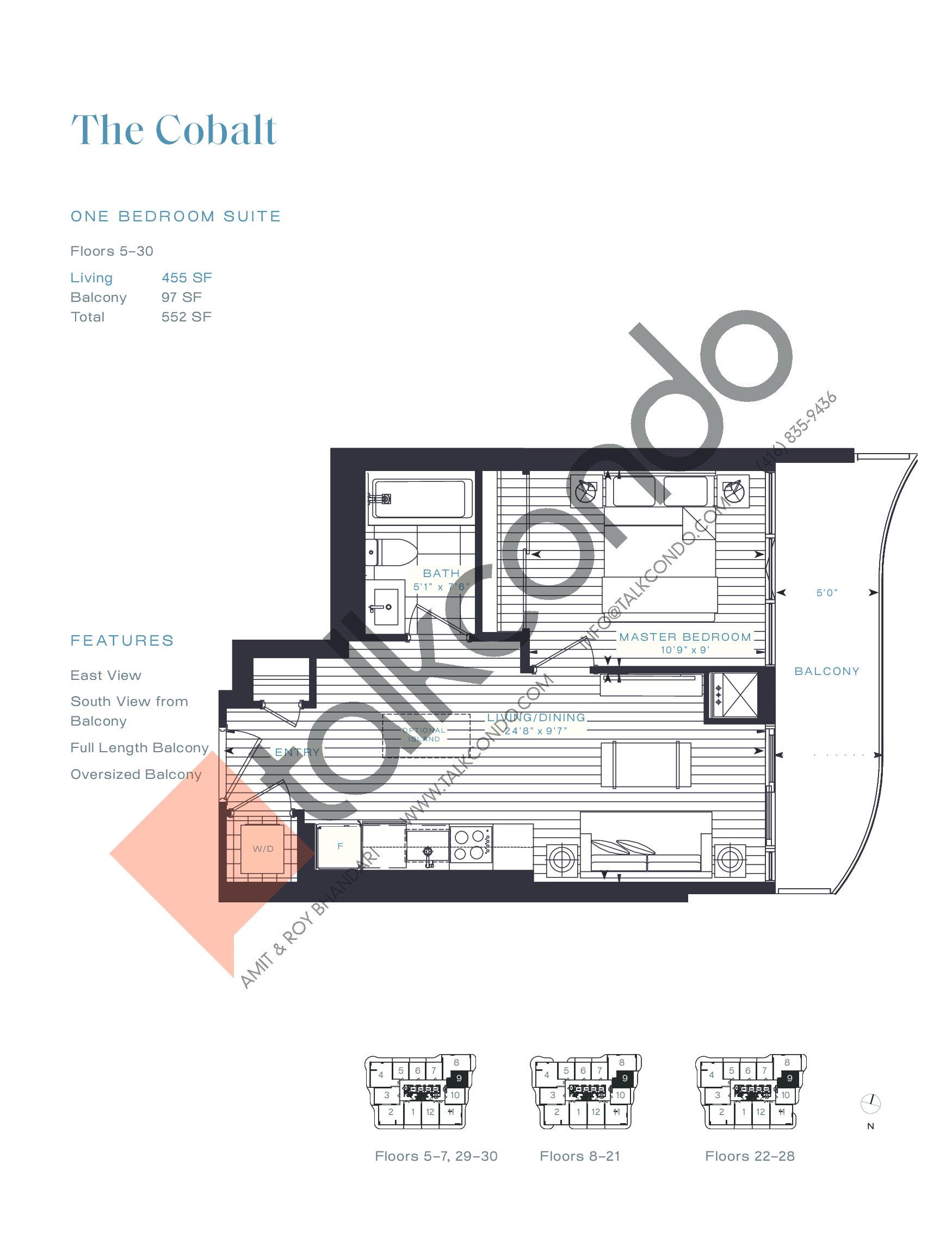 The Cobalt Floor Plan at Azura Condos - 455 sq.ft