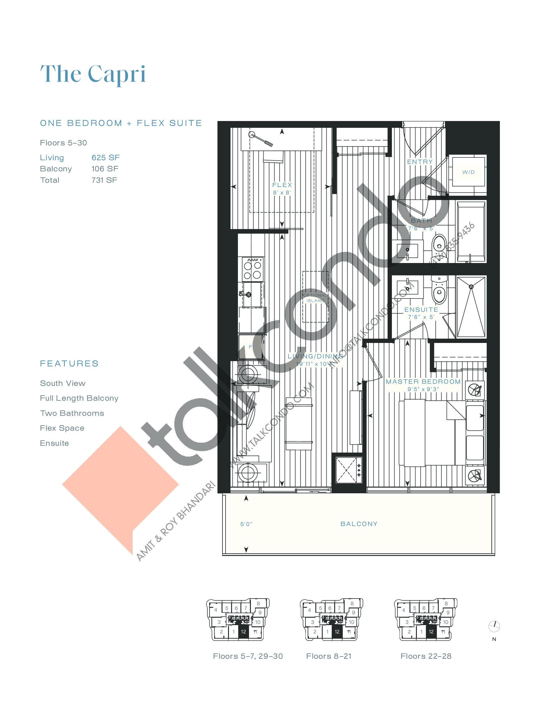 The Capri Floor Plan at Azura Condos - 625 sq.ft
