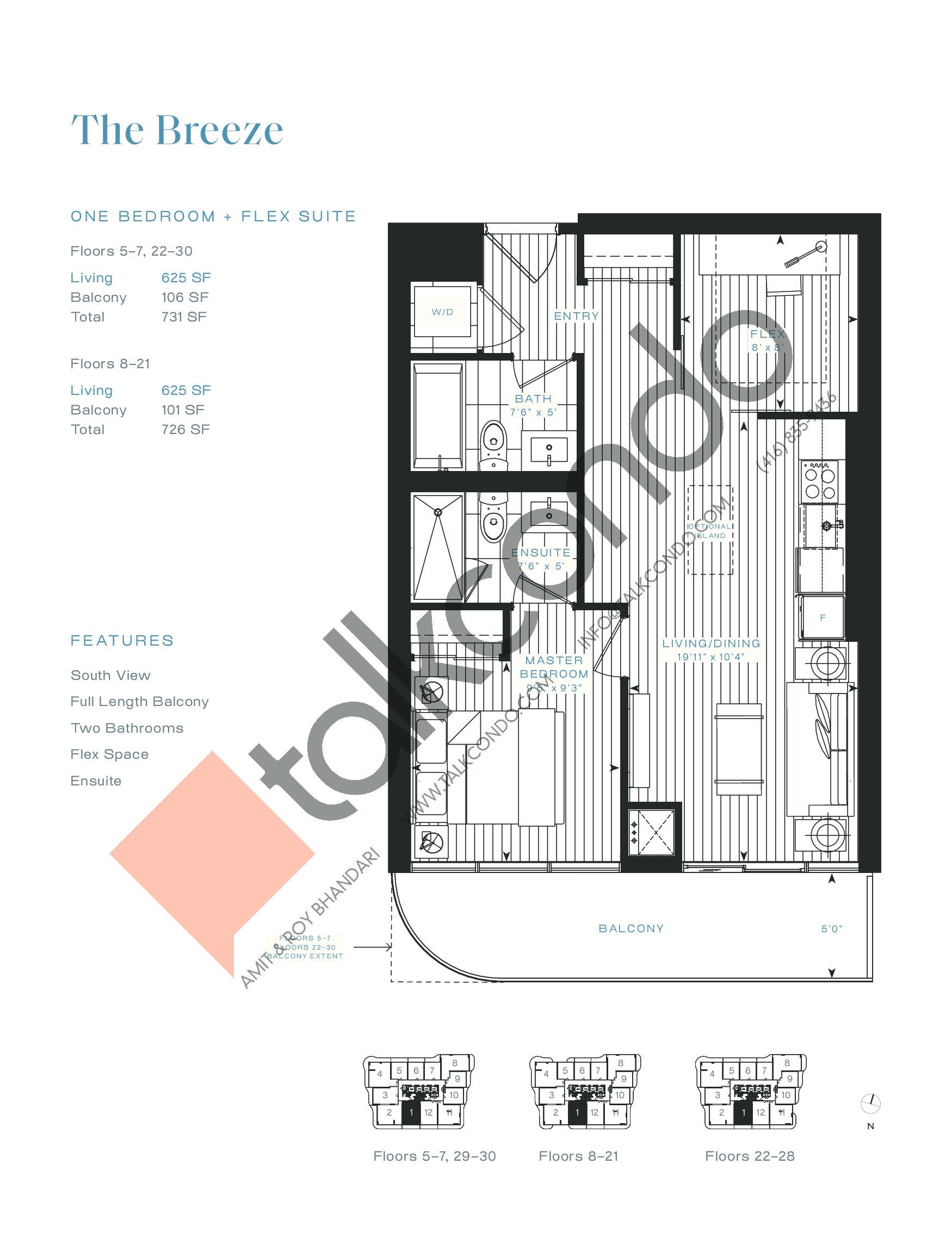 The Breeze Floor Plan at Azura Condos - 625 sq.ft