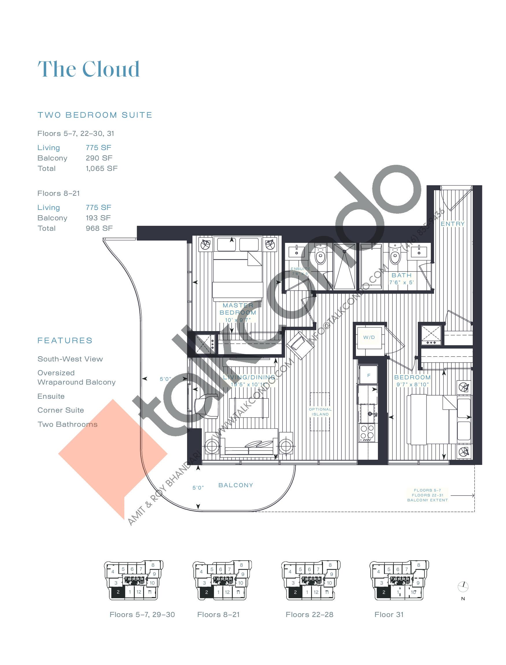 The Cloud Floor Plan at Azura Condos - 775 sq.ft