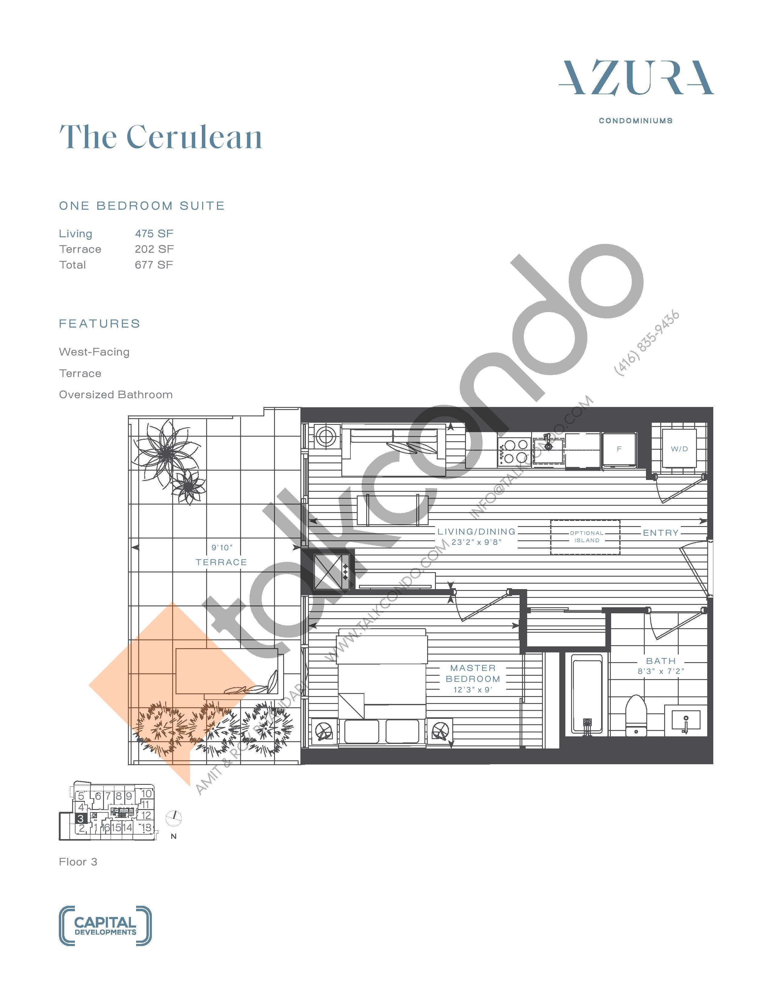 The Cerulean Floor Plan at Azura Condos - 475 sq.ft