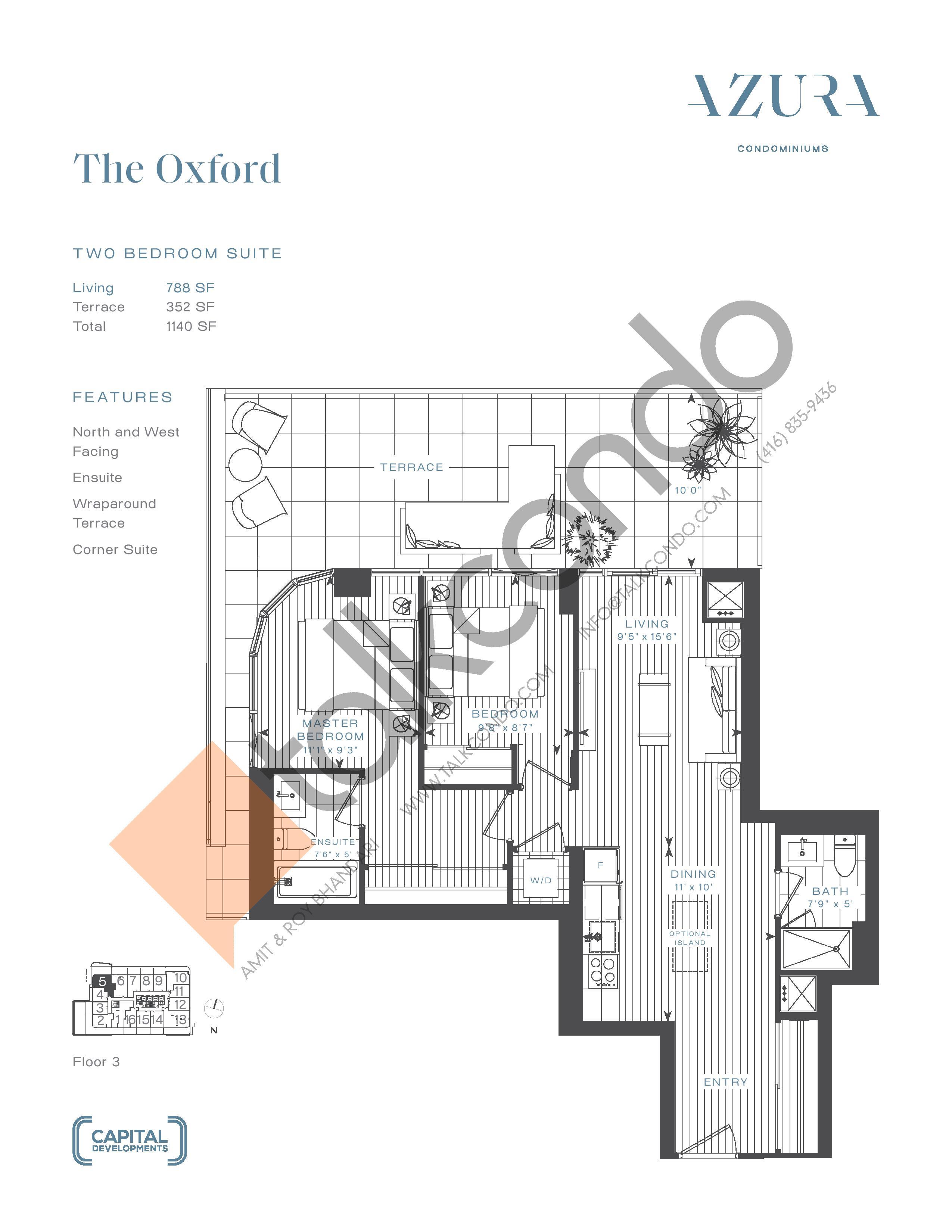 The Oxford Floor Plan at Azura Condos - 788 sq.ft